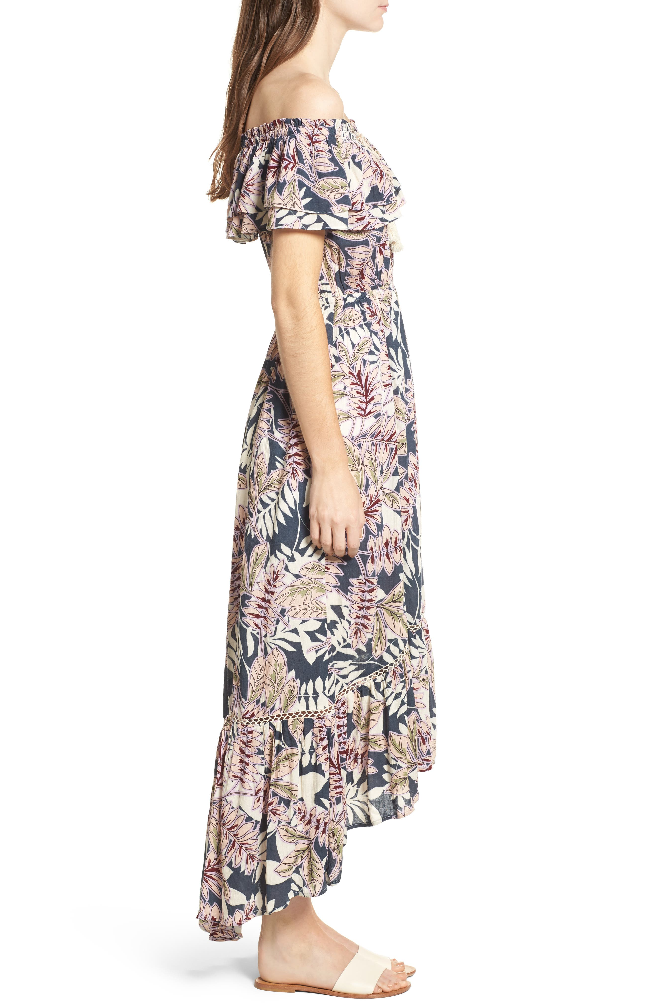 Maui Off the Shoulder High/Low Maxi Dress,                             Alternate thumbnail 3, color,                             340