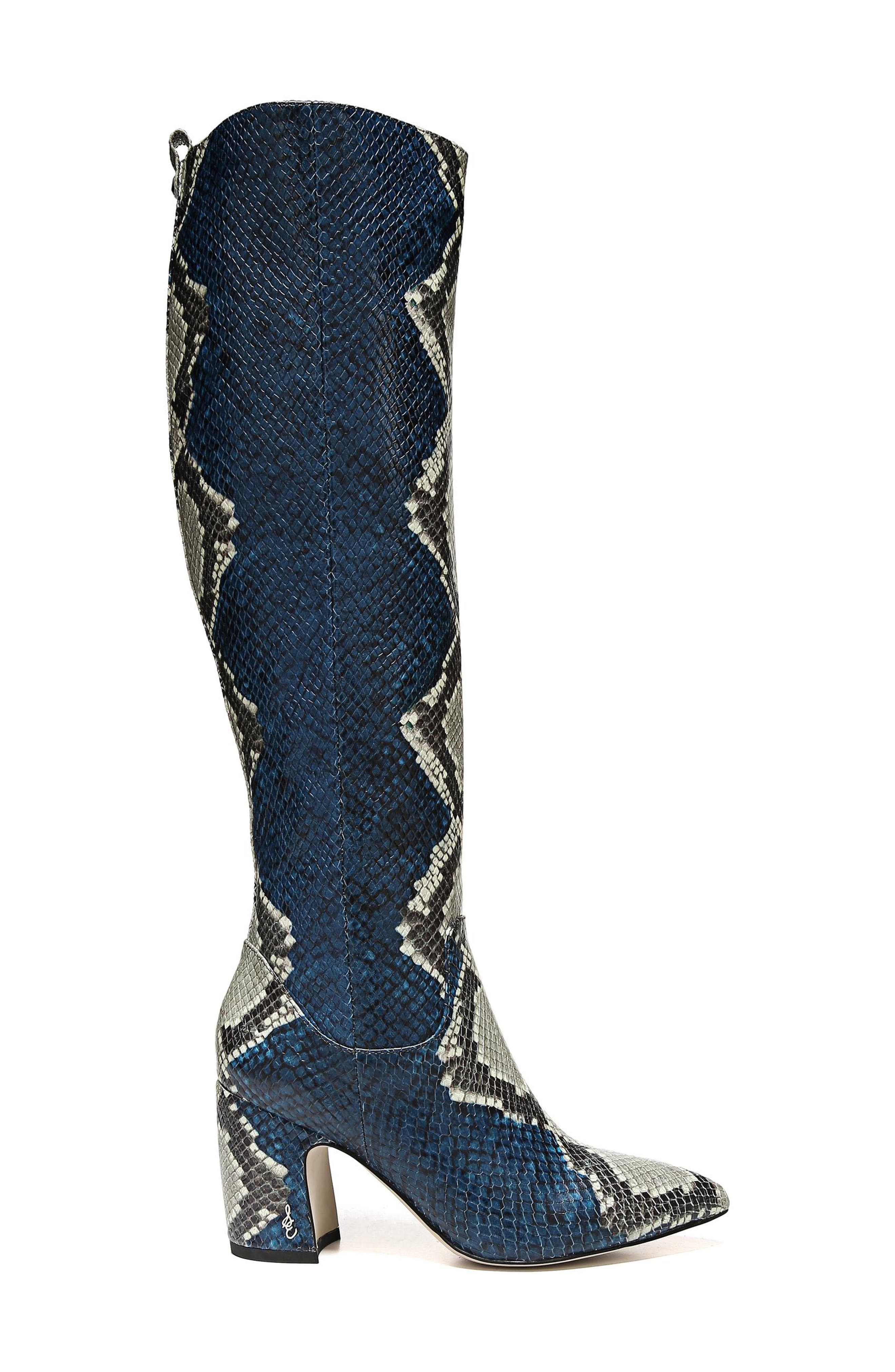 Hai Knee High Boot,                             Alternate thumbnail 3, color,                             PEACOCK EMBOSSED LEATHER