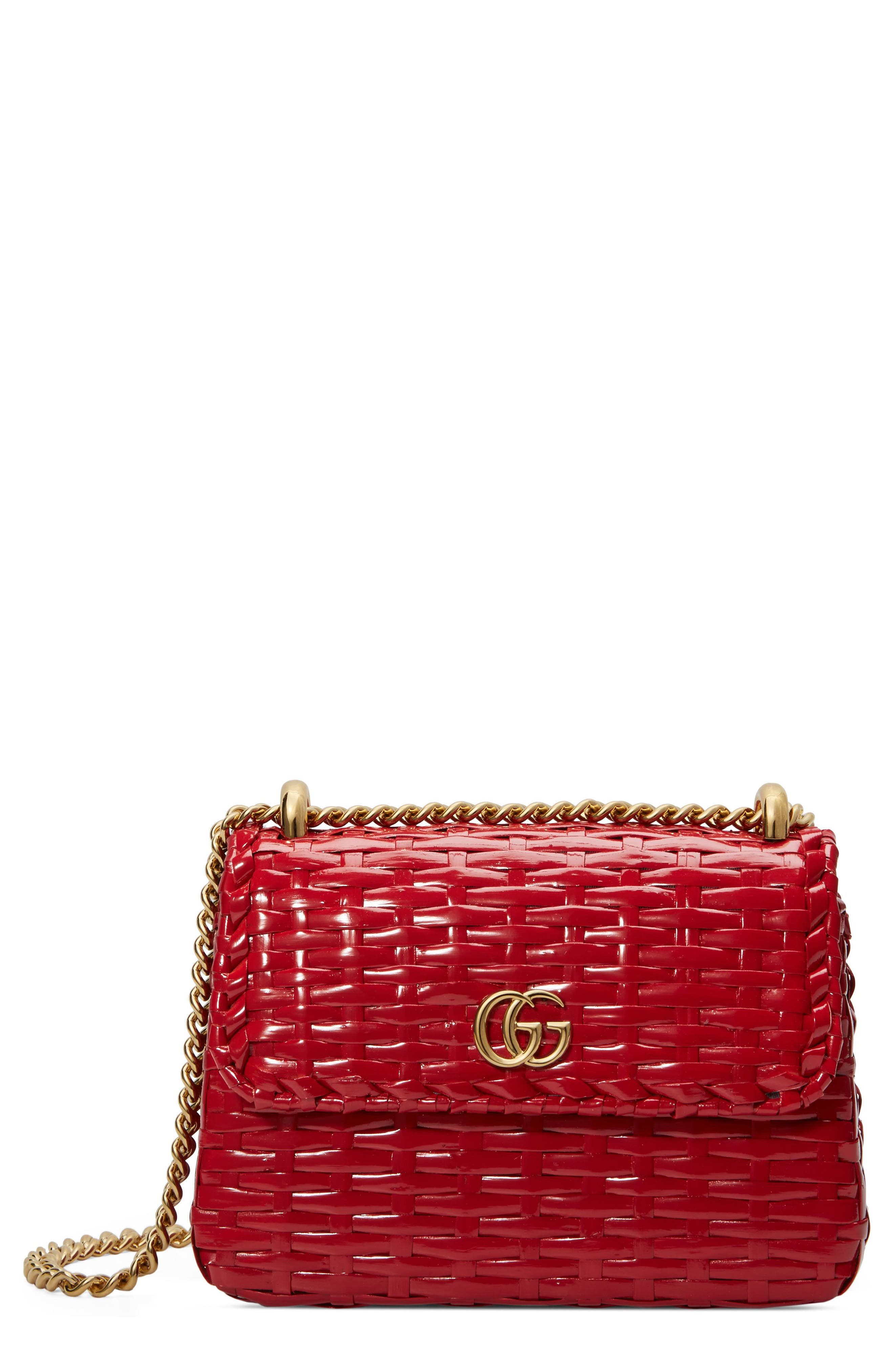 Small Linea Cestino Glazed Wicker Shoulder Bag,                         Main,                         color, ROSSO