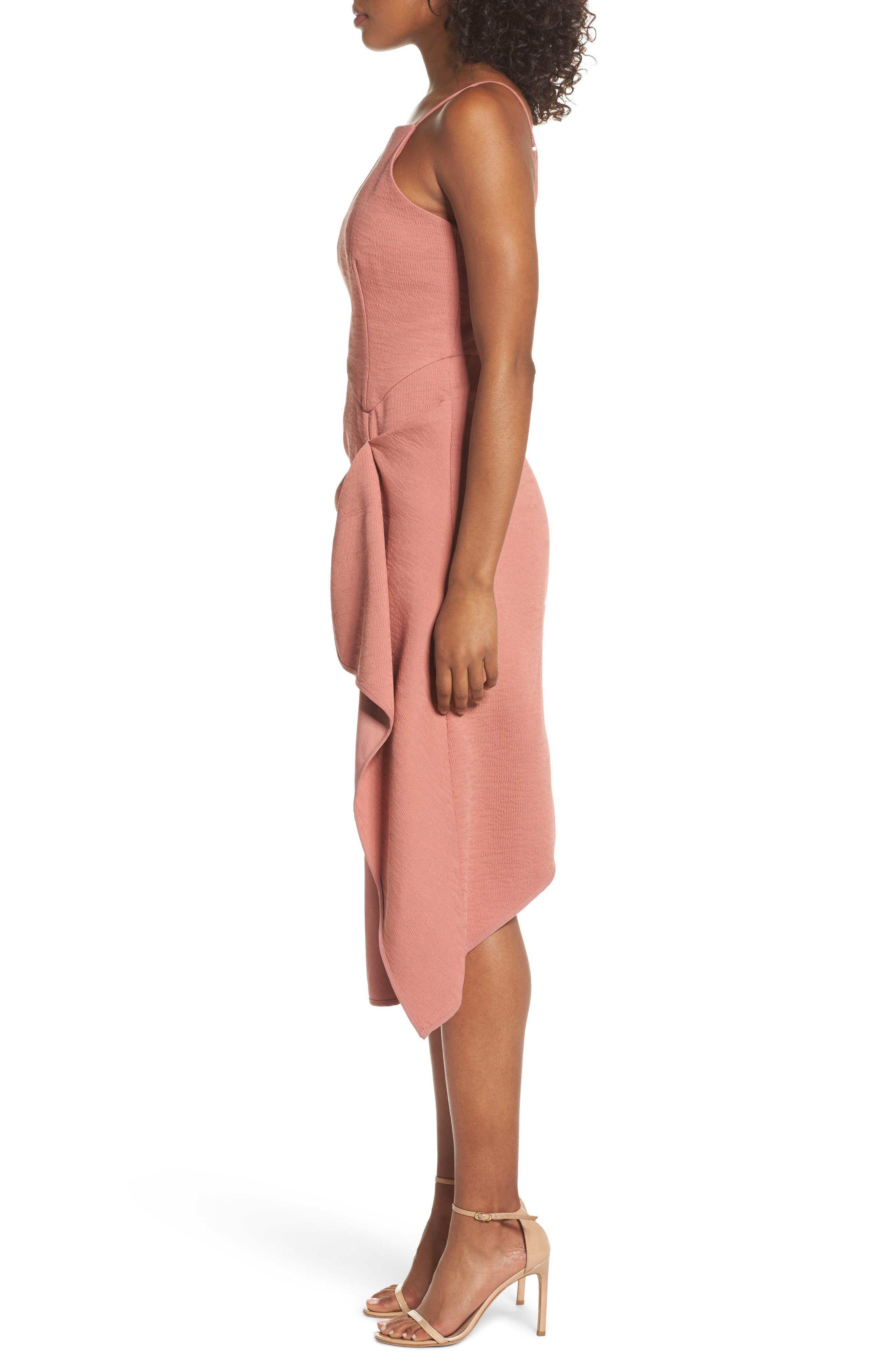 Fluidity Draped Midi Dress,                             Alternate thumbnail 3, color,
