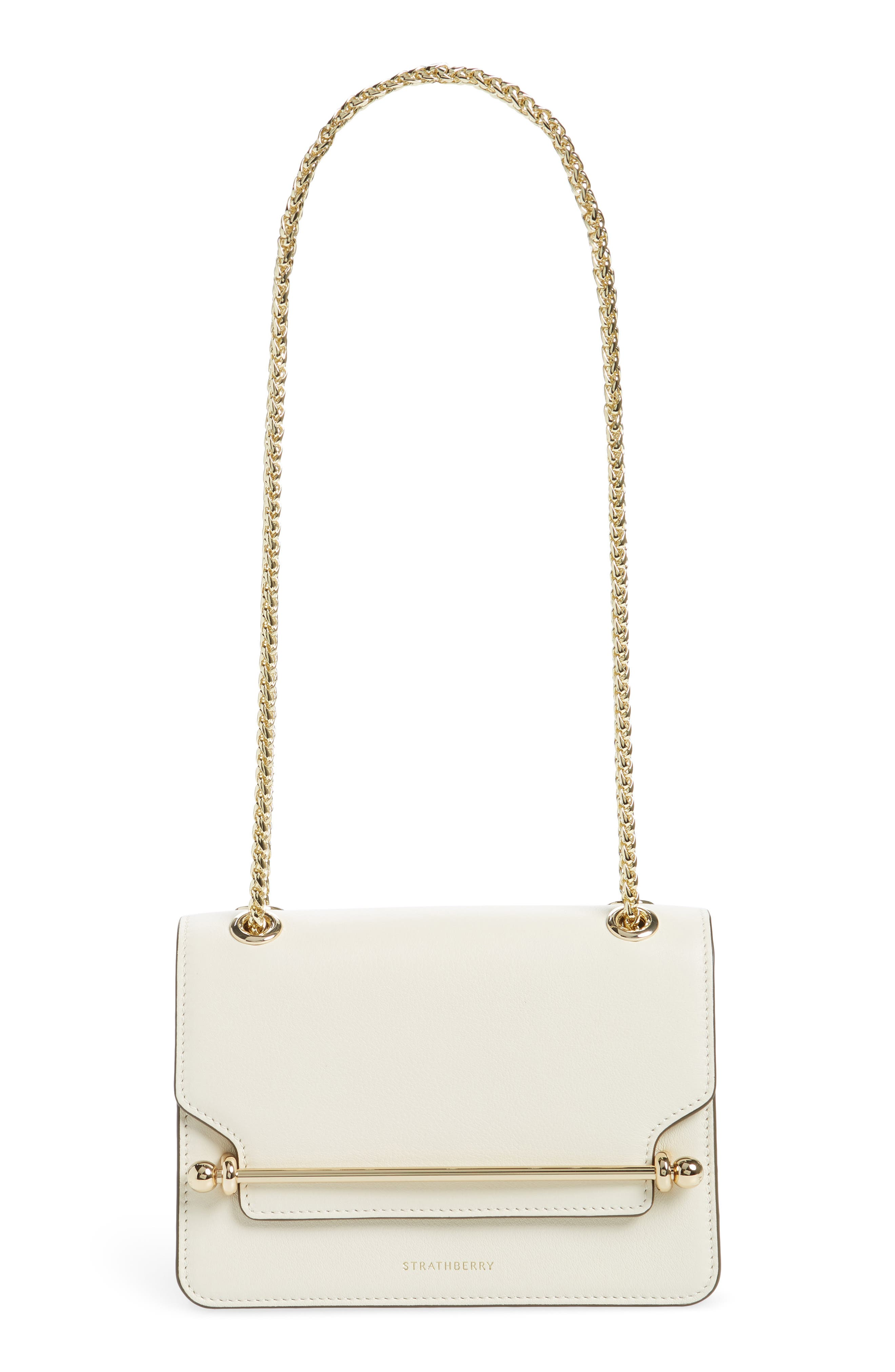 STRATHBERRY Mini East/West Leather Crossbody Bag - Ivory in Vanilla
