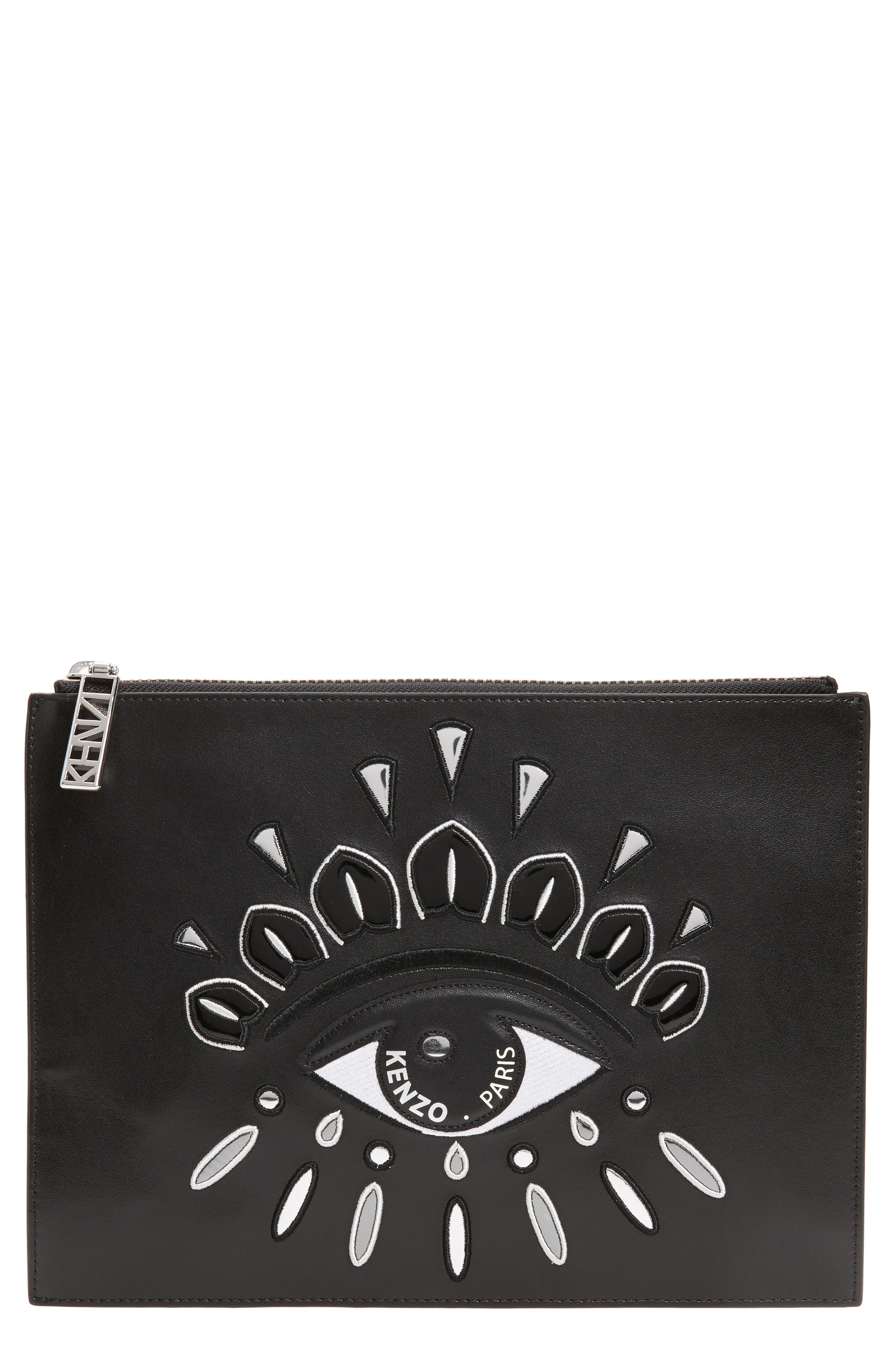 A4 Eye Embroidered Leather Pouch,                         Main,                         color, 001