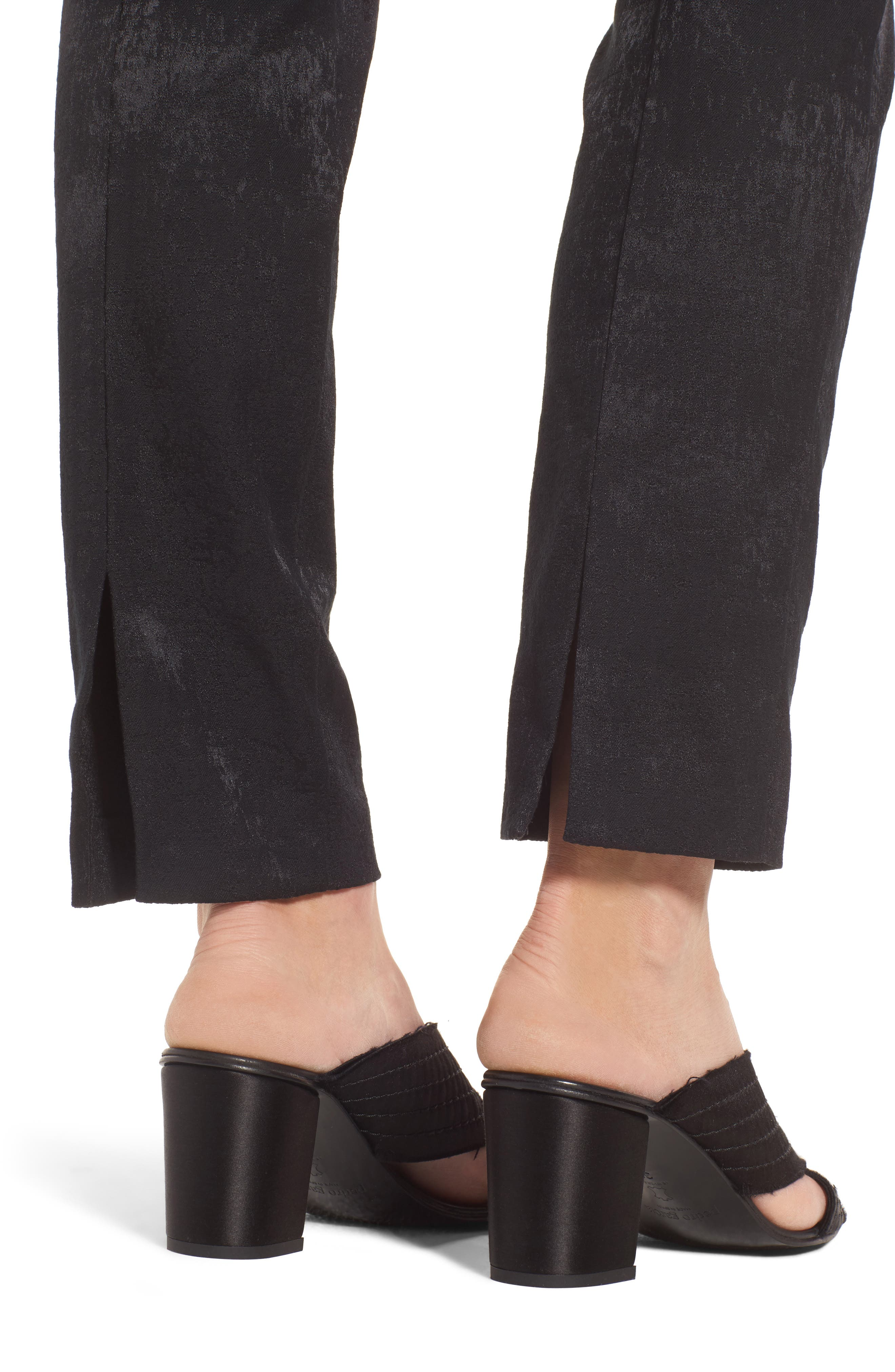 Slim Stretch Jacquard Trousers,                             Alternate thumbnail 4, color,                             001