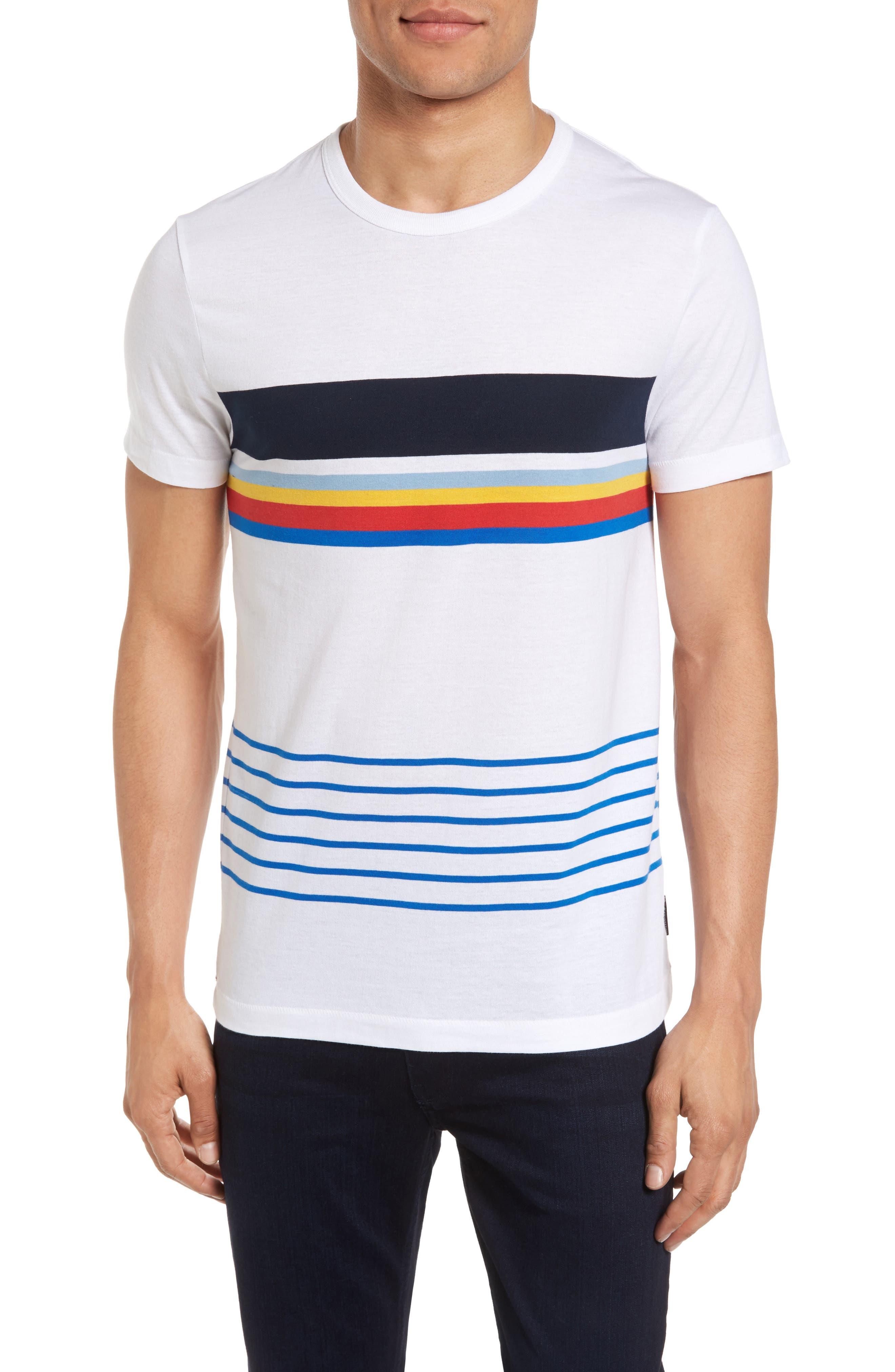 Senior Stripe Slim Fit T-Shirt,                             Main thumbnail 1, color,                             WHITE