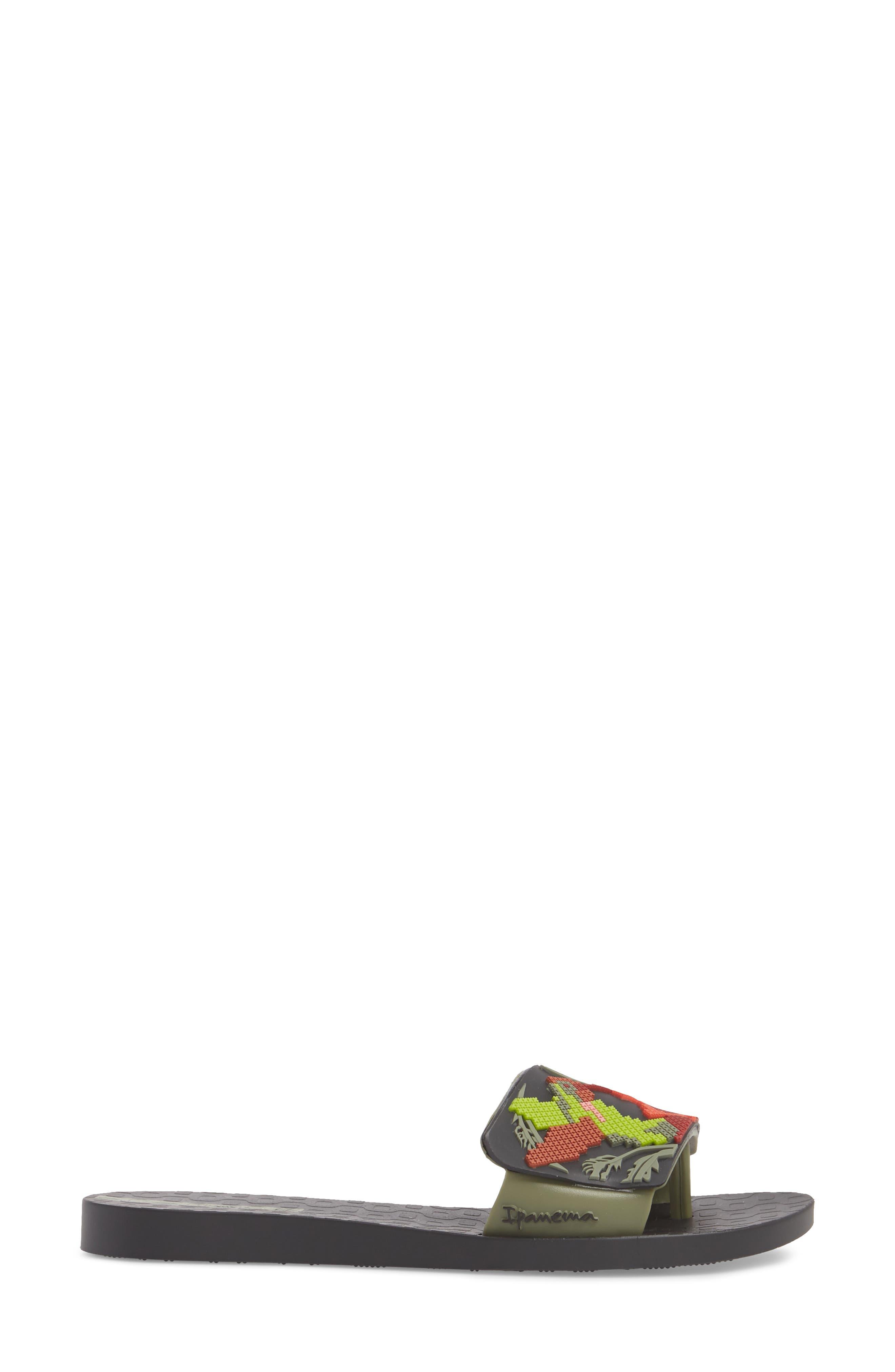 Nectar Floral Slide Sandal,                             Alternate thumbnail 3, color,                             BLACK/ GREEN
