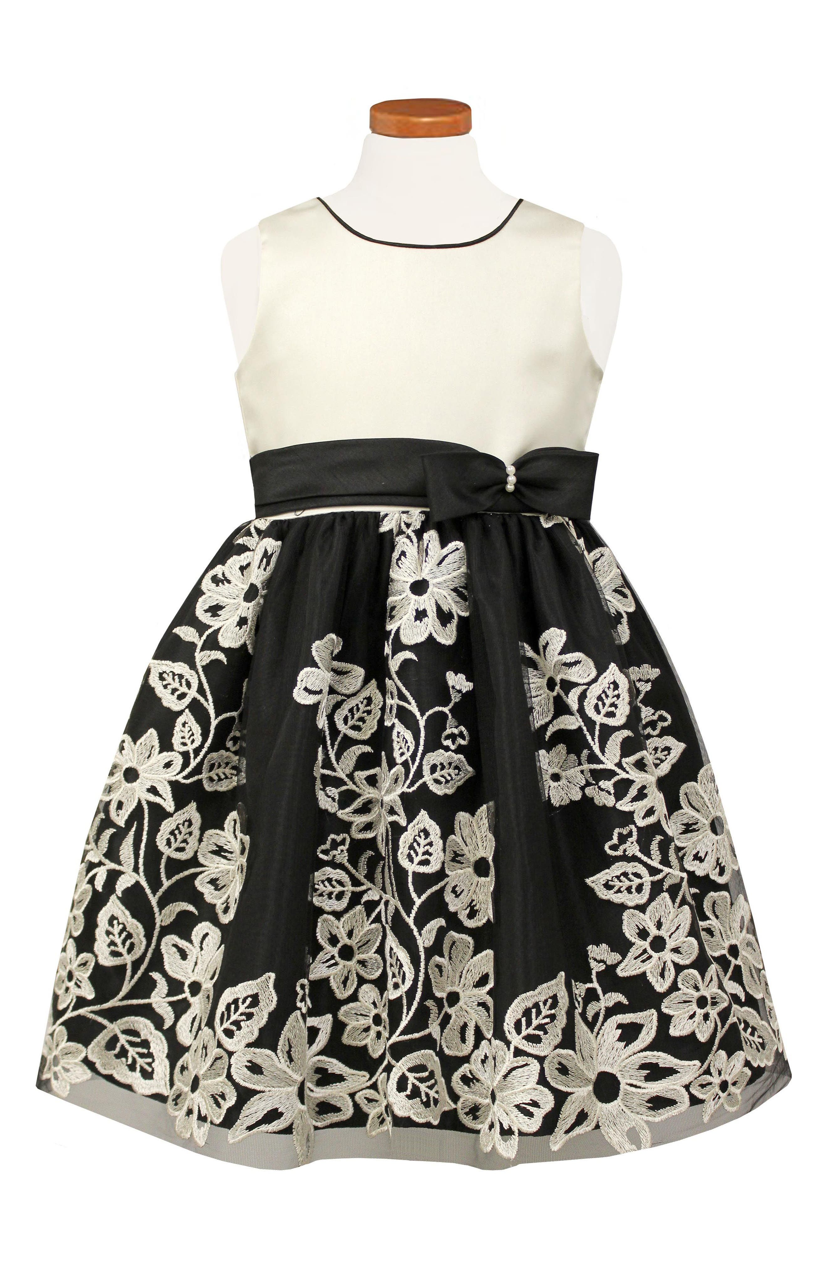Embroided Party Dress,                             Main thumbnail 1, color,                             001