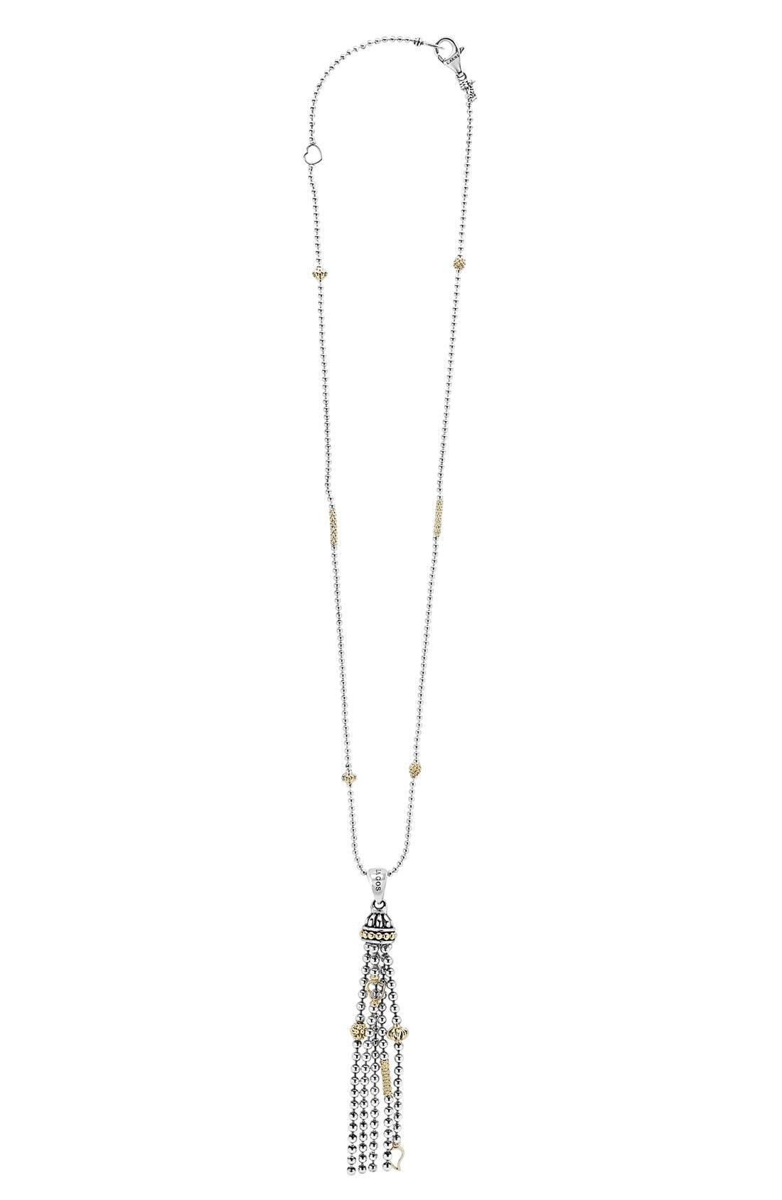 'Caviar Icon' Tassel Pendant Necklace,                             Main thumbnail 1, color,                             SILVER/ GOLD