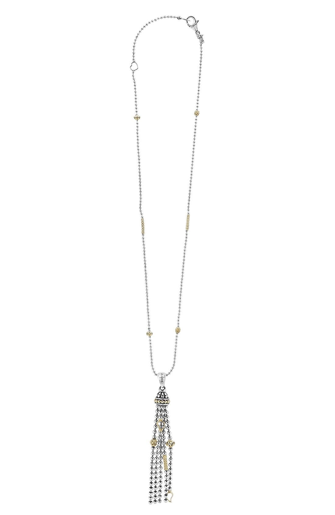 'Caviar Icon' Tassel Pendant Necklace,                         Main,                         color, SILVER/ GOLD