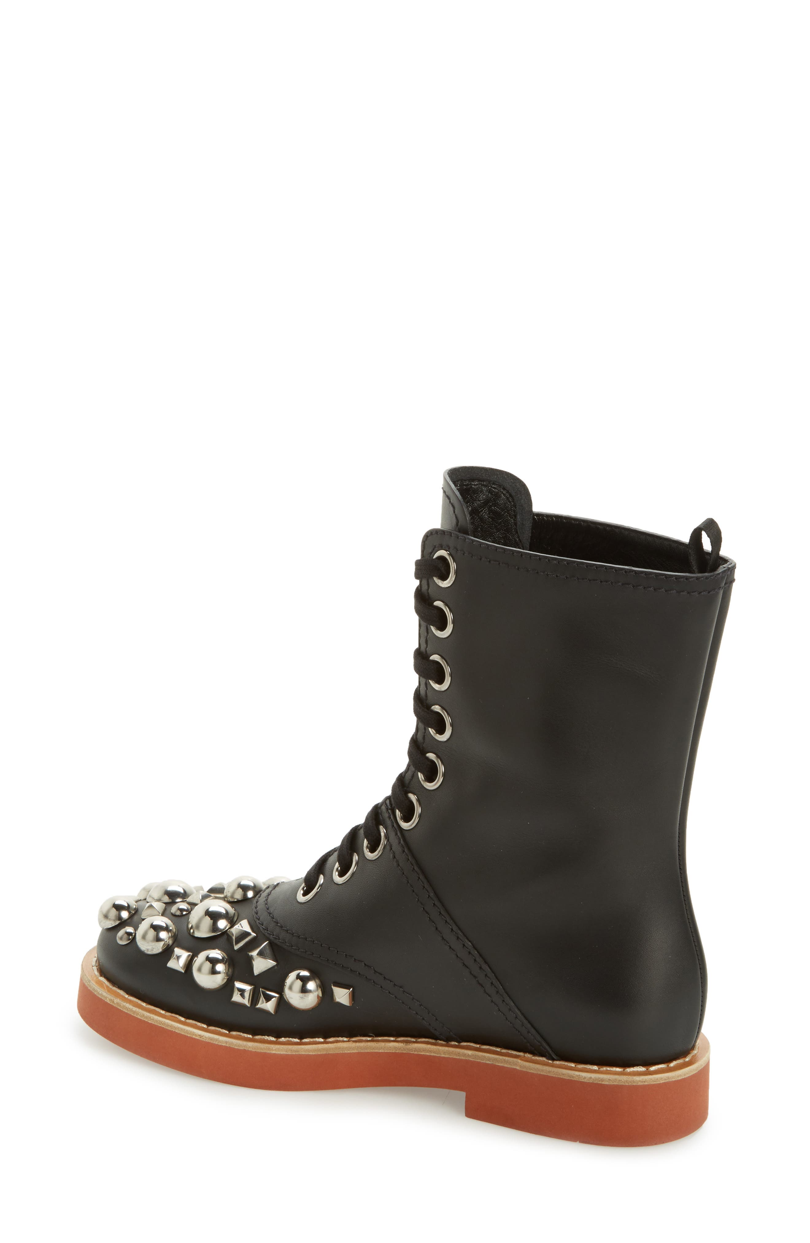 Genuine Shearling Trim Studded Lace-Up Boot,                             Alternate thumbnail 2, color,                             001