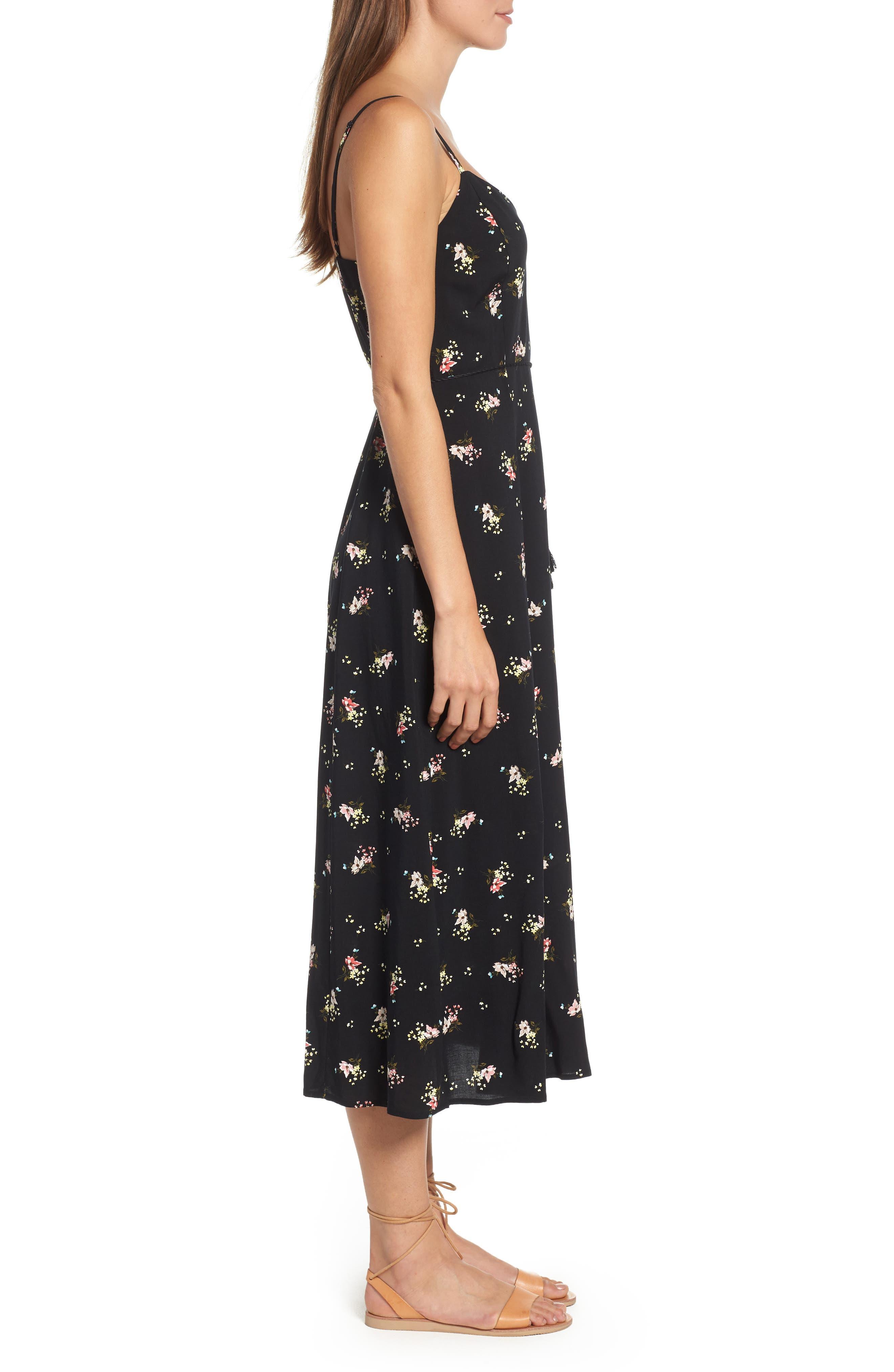 Floral Print Maxi Dress,                             Alternate thumbnail 3, color,                             001