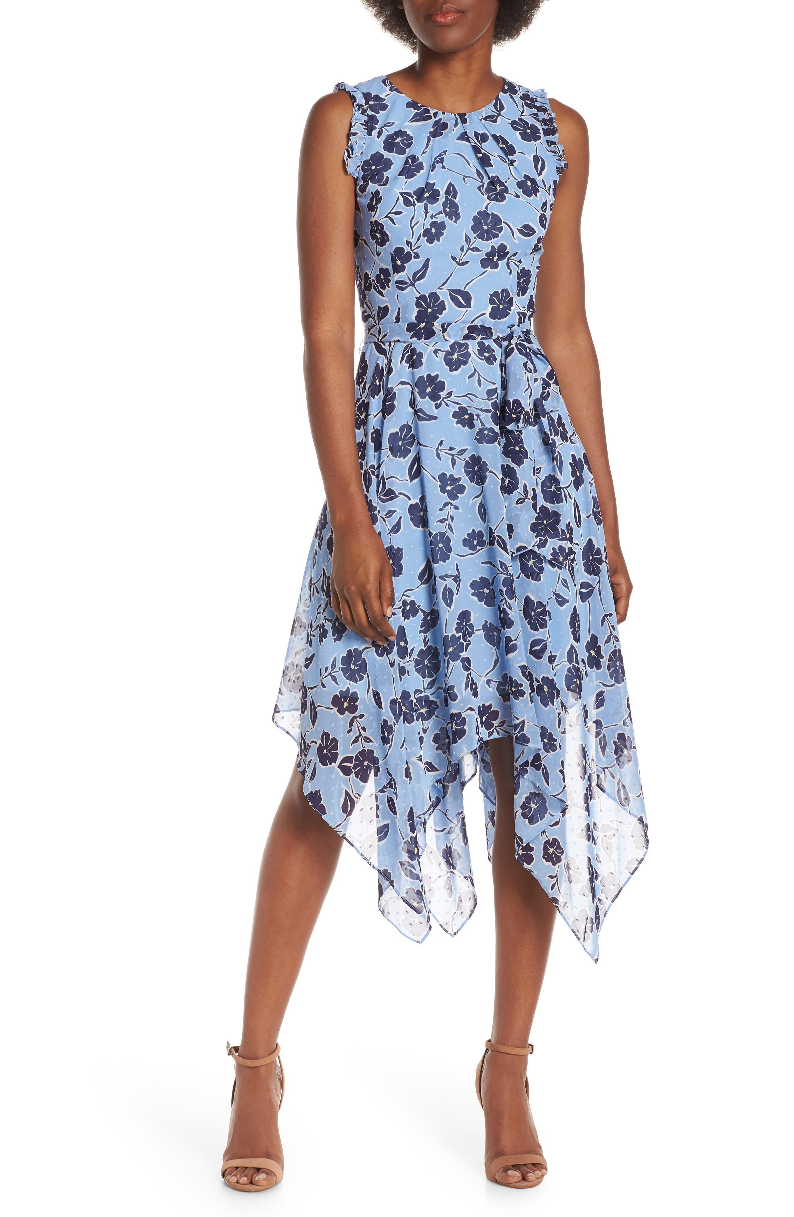 Eliza J Floral Handkerchief Hem Dress, Blue
