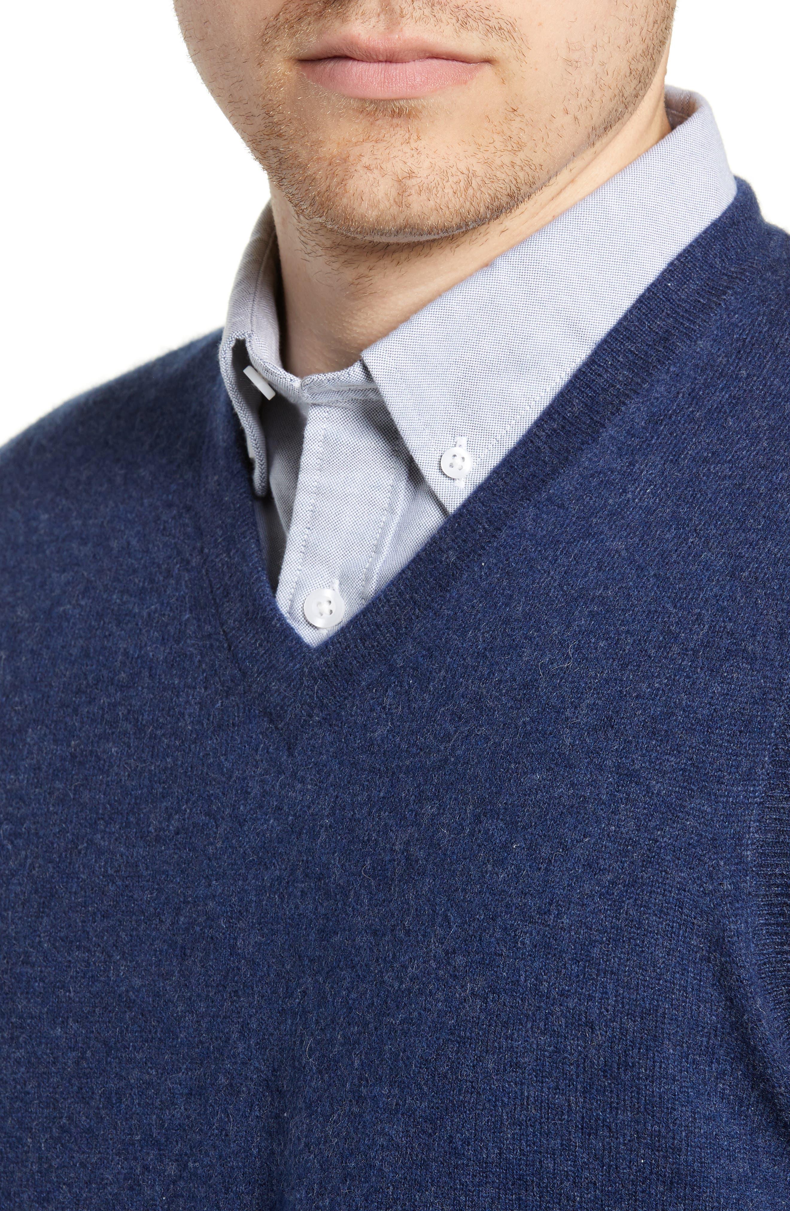 Cashmere V-Neck Sweater Vest,                             Alternate thumbnail 4, color,                             BLUE ESTATE HEATHER