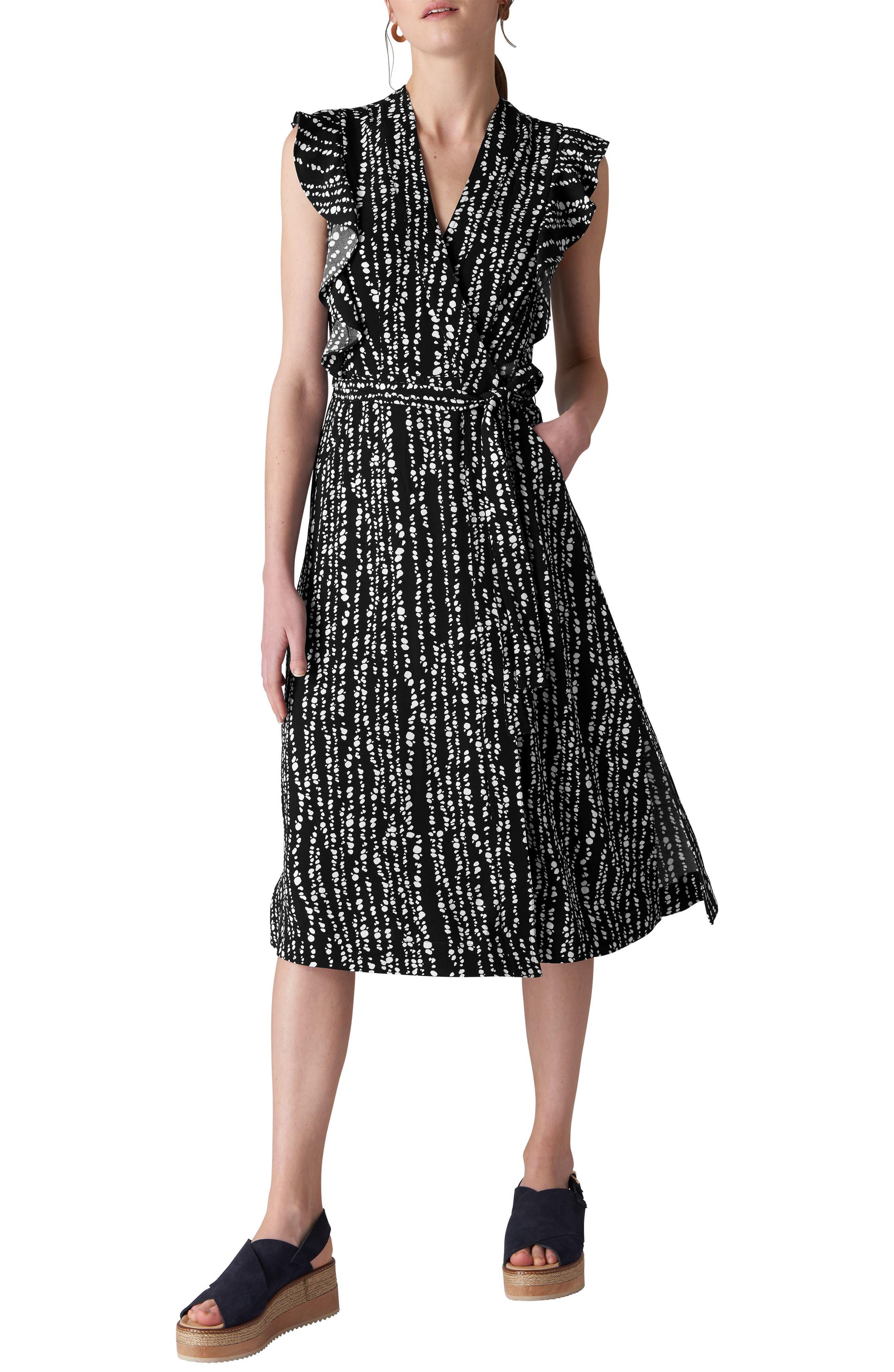 Misha Savannah Print Wrap Dress,                         Main,                         color, NAVY/ MULTI