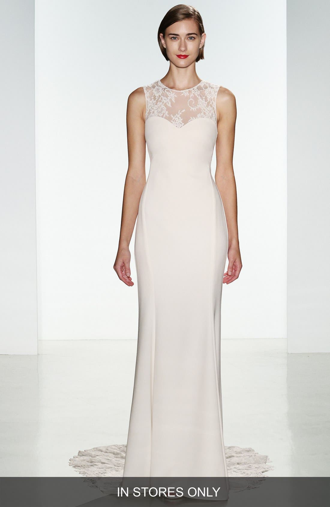 Myka Sleeveless Illusion Lace & Crepe Column Gown,                             Main thumbnail 1, color,                             IVORY