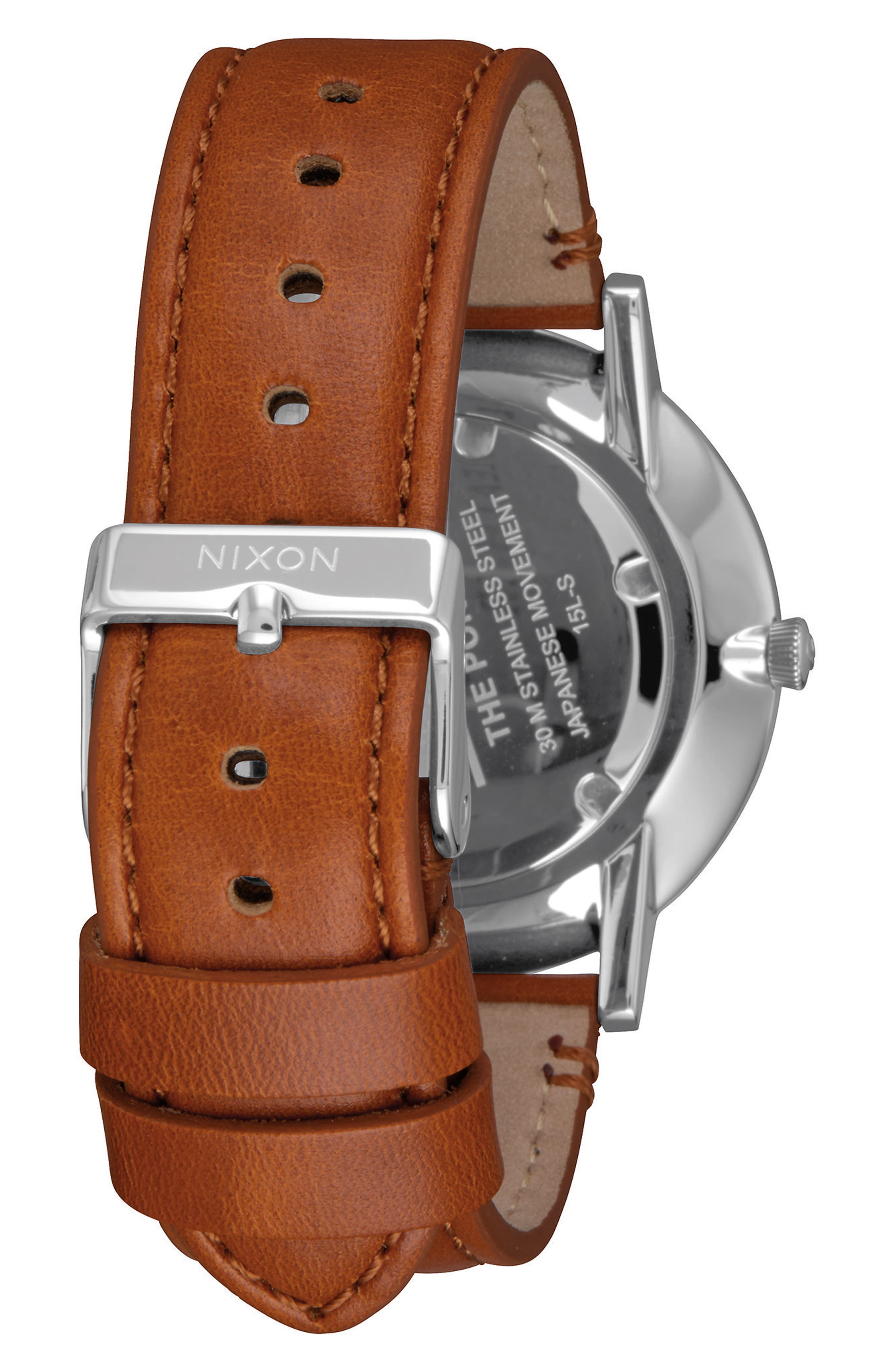 Porter Round Leather Strap Watch, 40mm,                             Alternate thumbnail 2, color,                             SADDLE/ WHITE/ SILVER