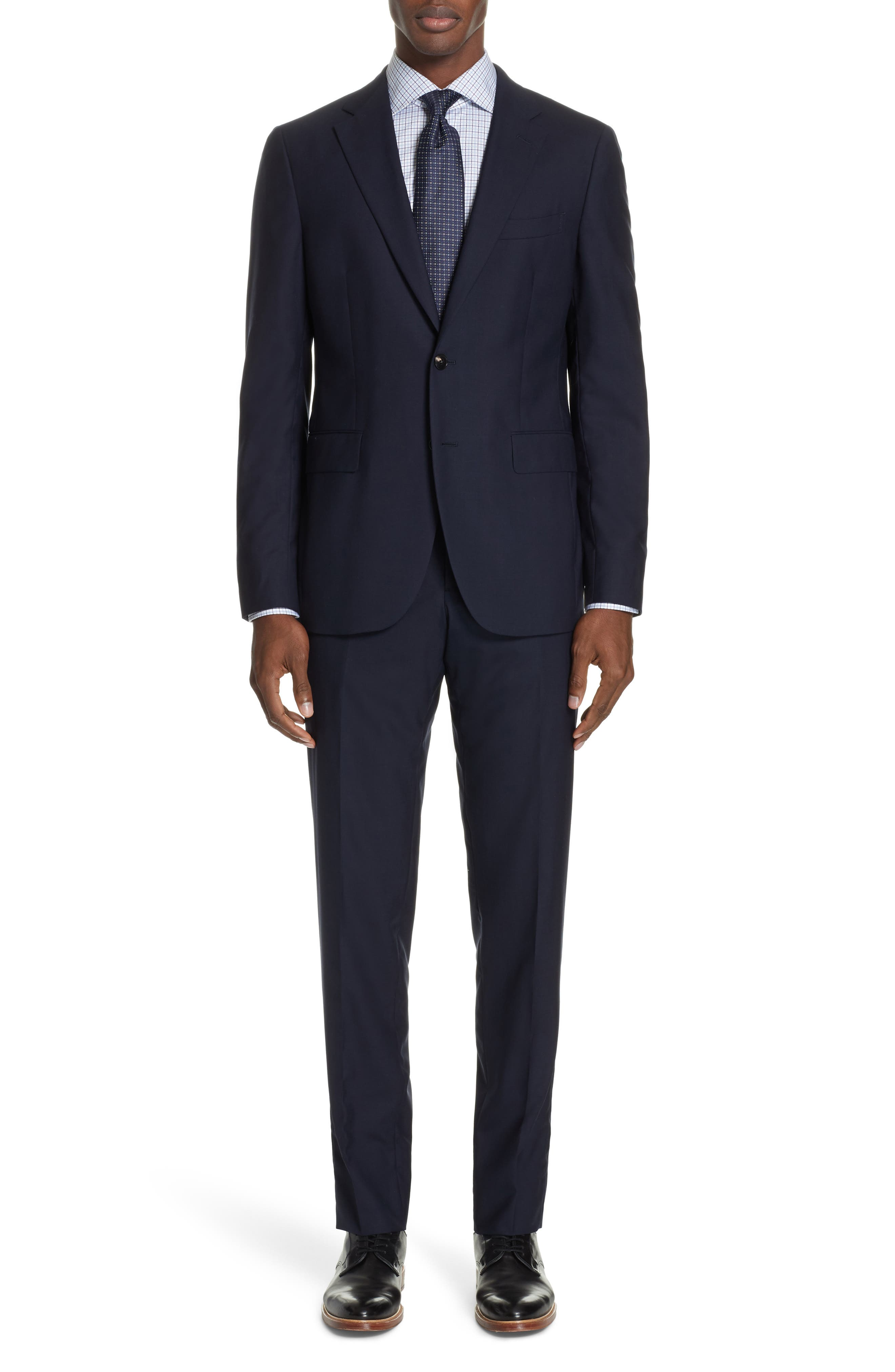 Milano Trim Fit Solid Wool Suit, Main, color, NAVY