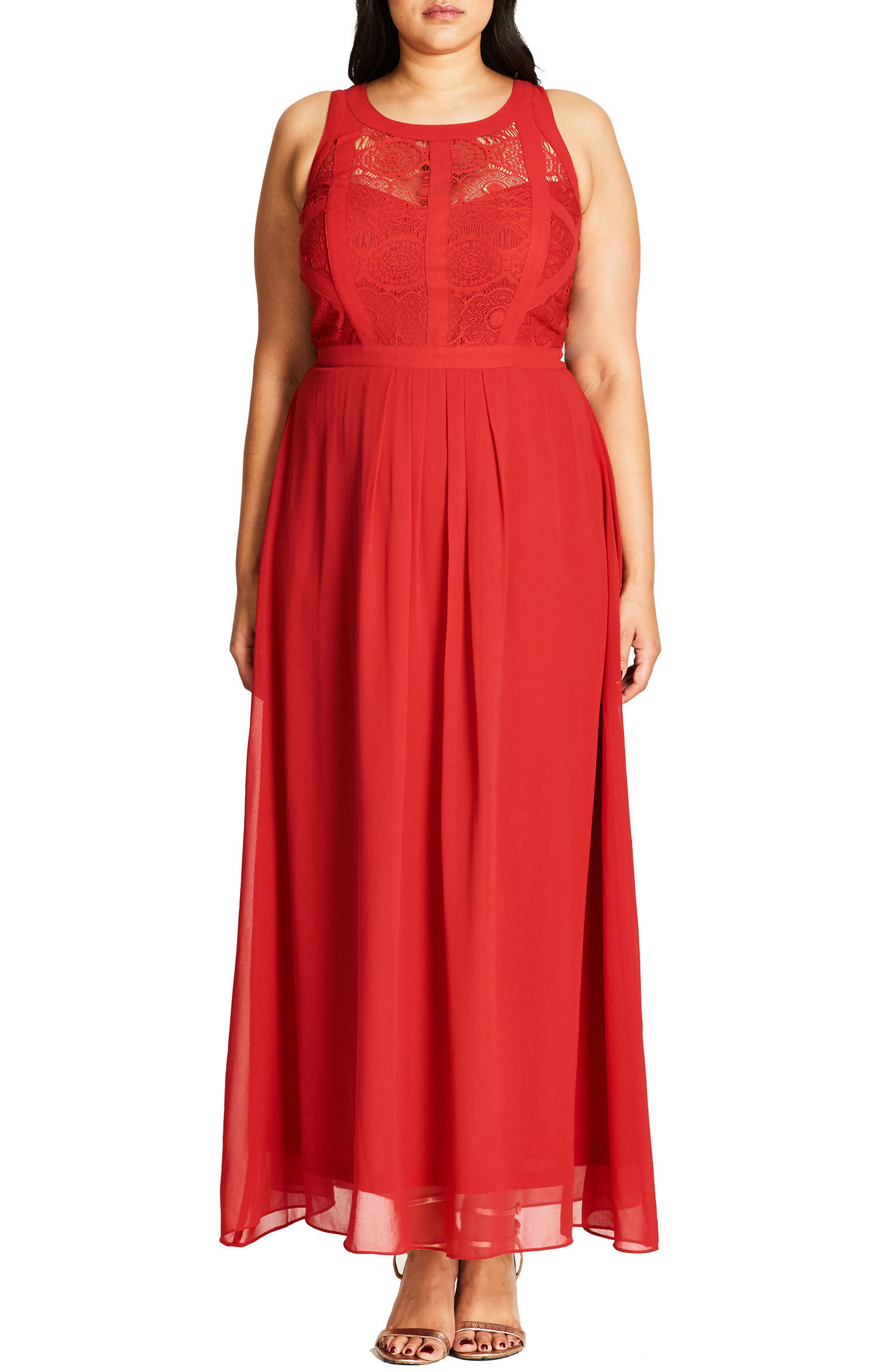 Paneled Lace Bodice Gown,                             Main thumbnail 11, color,