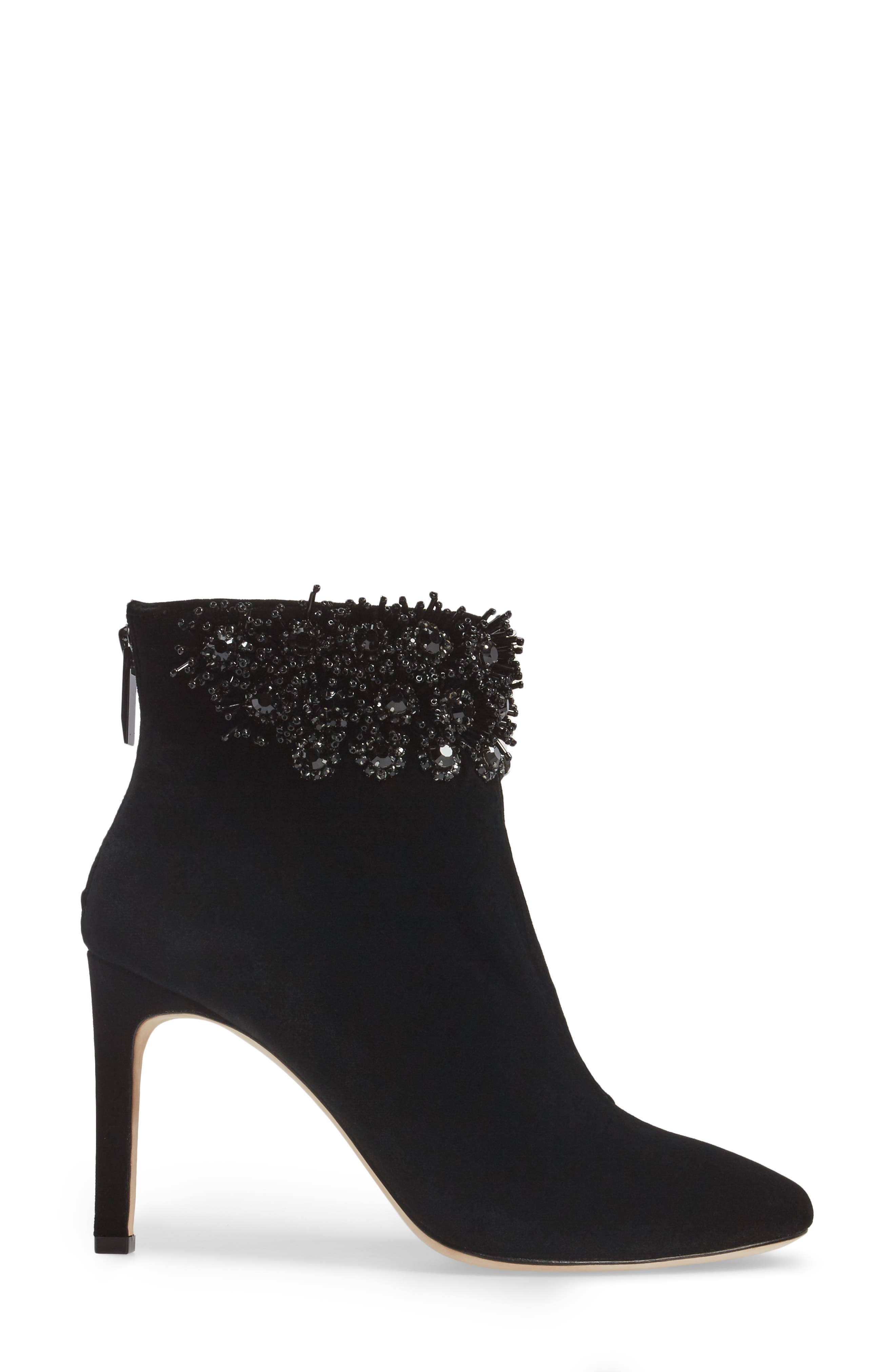 Imagine Vince Camuto Lura Crystal Flower Bootie,                             Alternate thumbnail 3, color,                             001