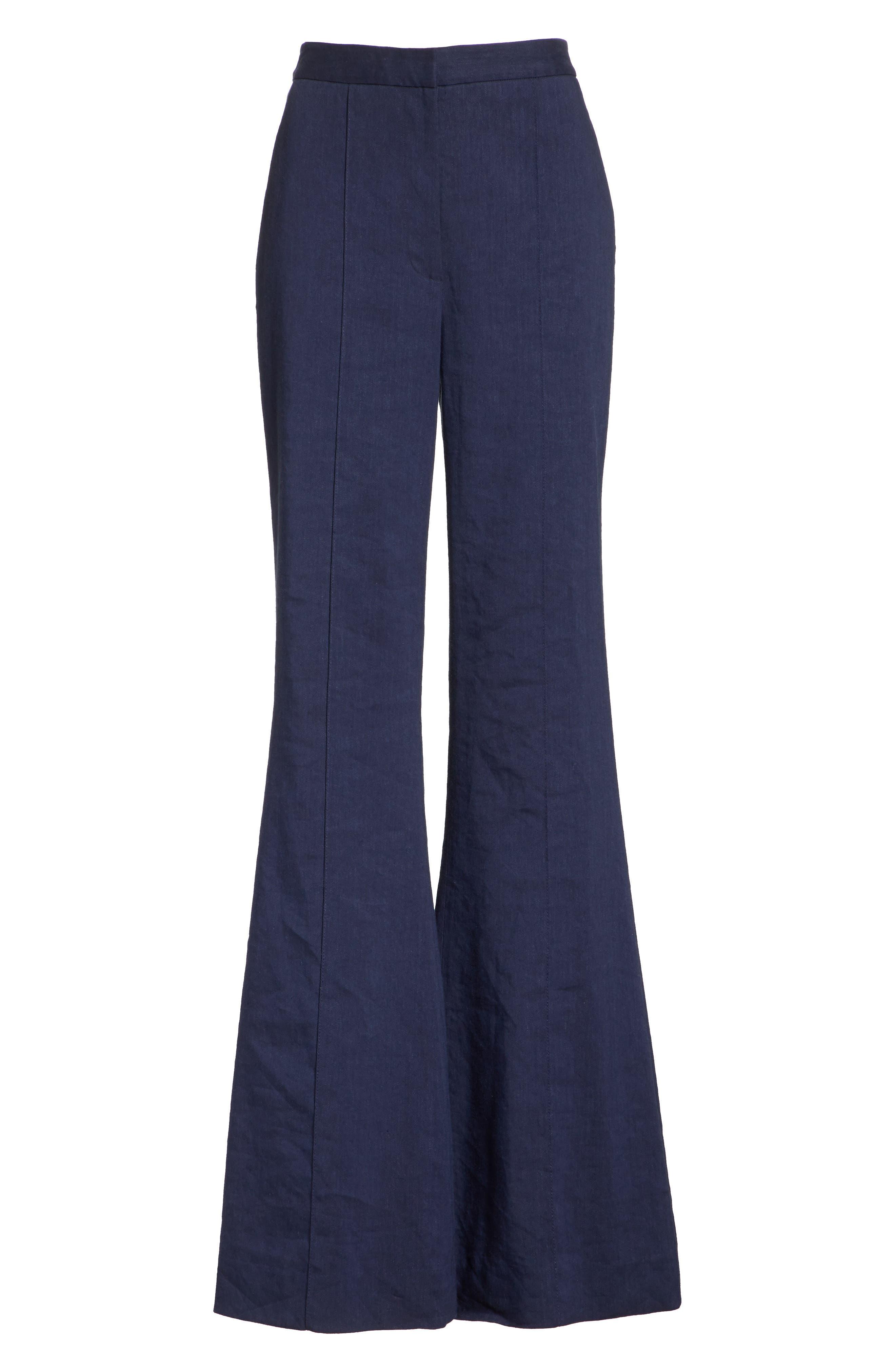 Diane von Furstenberg Pleat Front Flare Stretch Linen Blend Pants,                             Alternate thumbnail 6, color,                             485