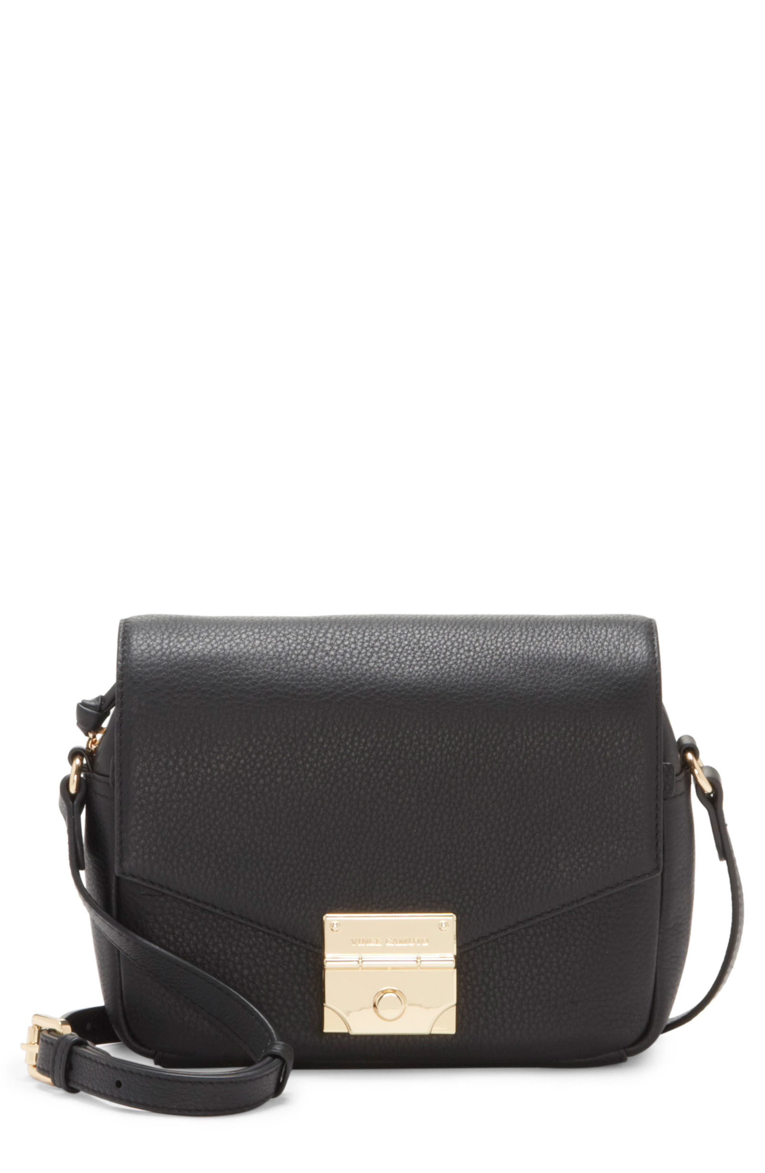 Stina Leather Crossbody Bag,                             Main thumbnail 1, color,                             001