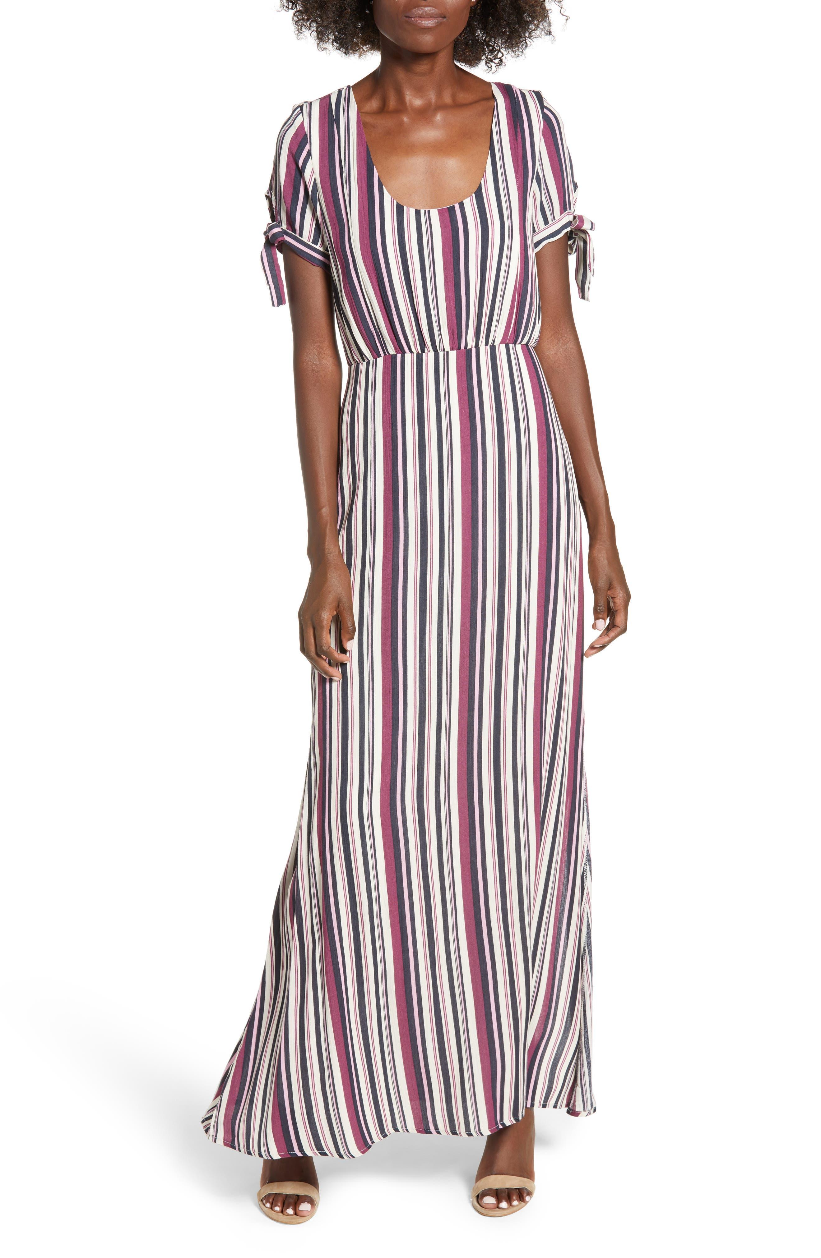 Tie Sleeve Maxi Dress,                         Main,                         color, MULTI STRIPE