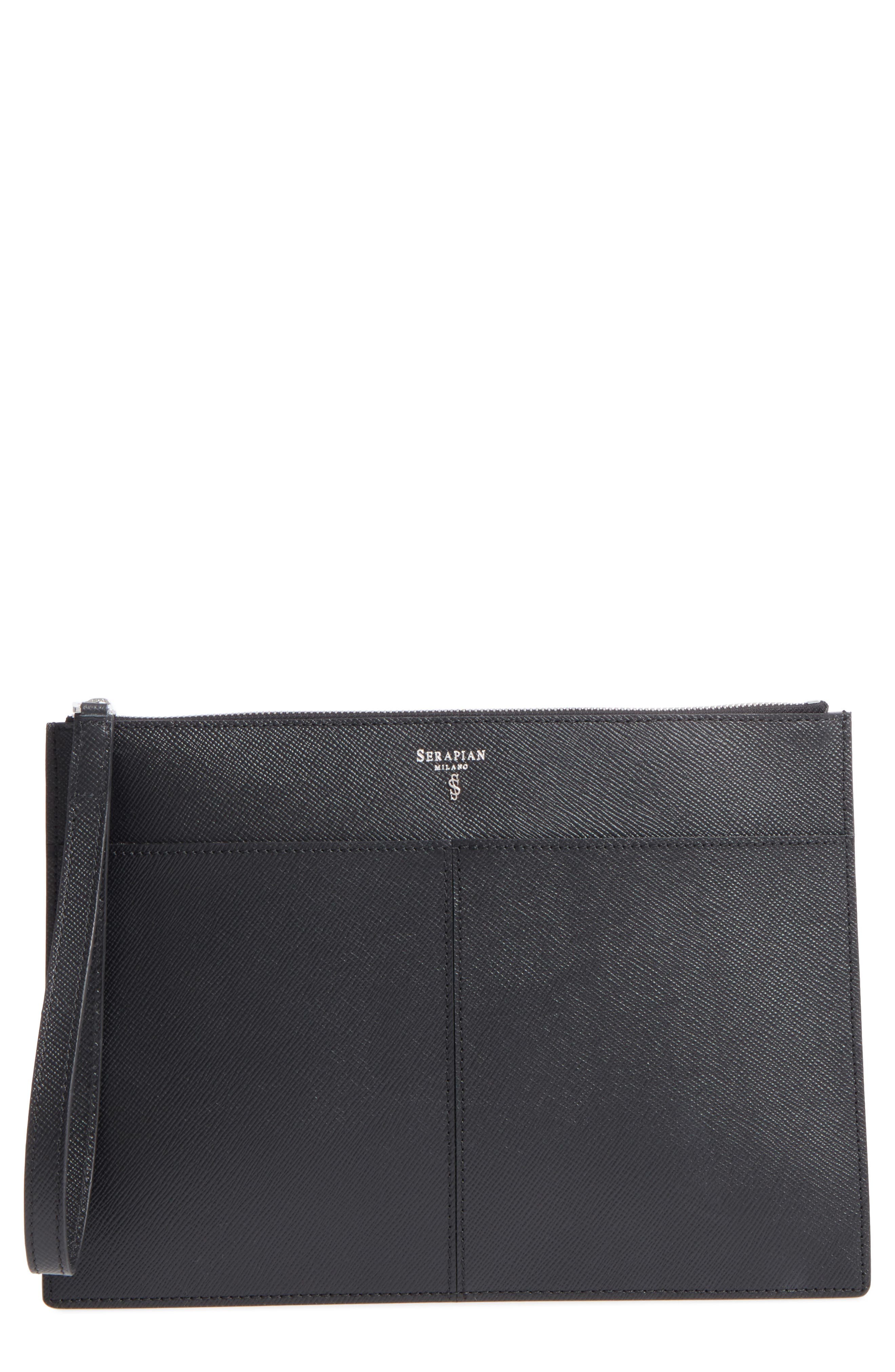 Evolution Leather Clutch,                             Main thumbnail 1, color,                             001