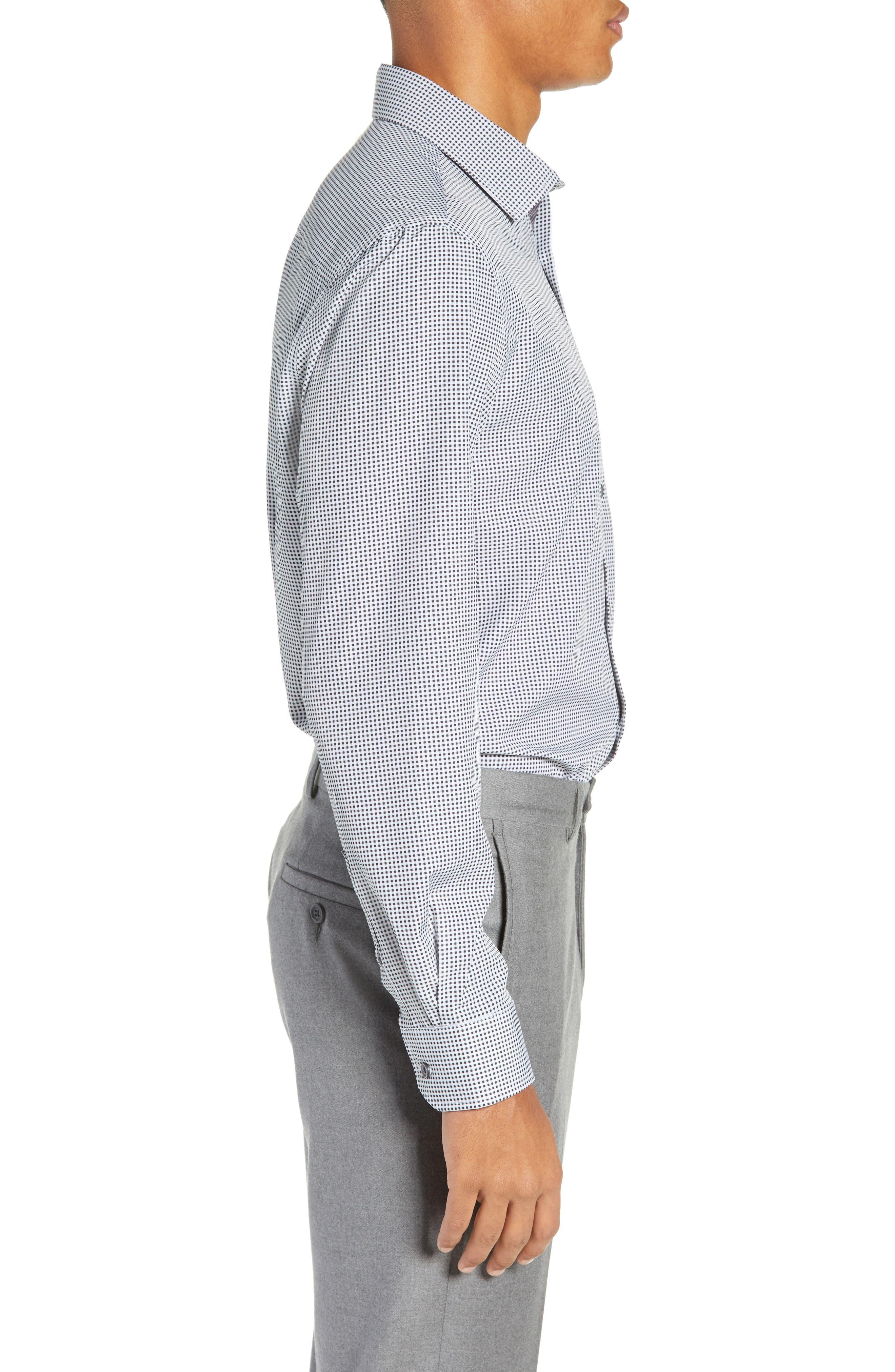 Trim Fit 4-Way Stretch Check Dress Shirt,                             Alternate thumbnail 4, color,                             BLACK