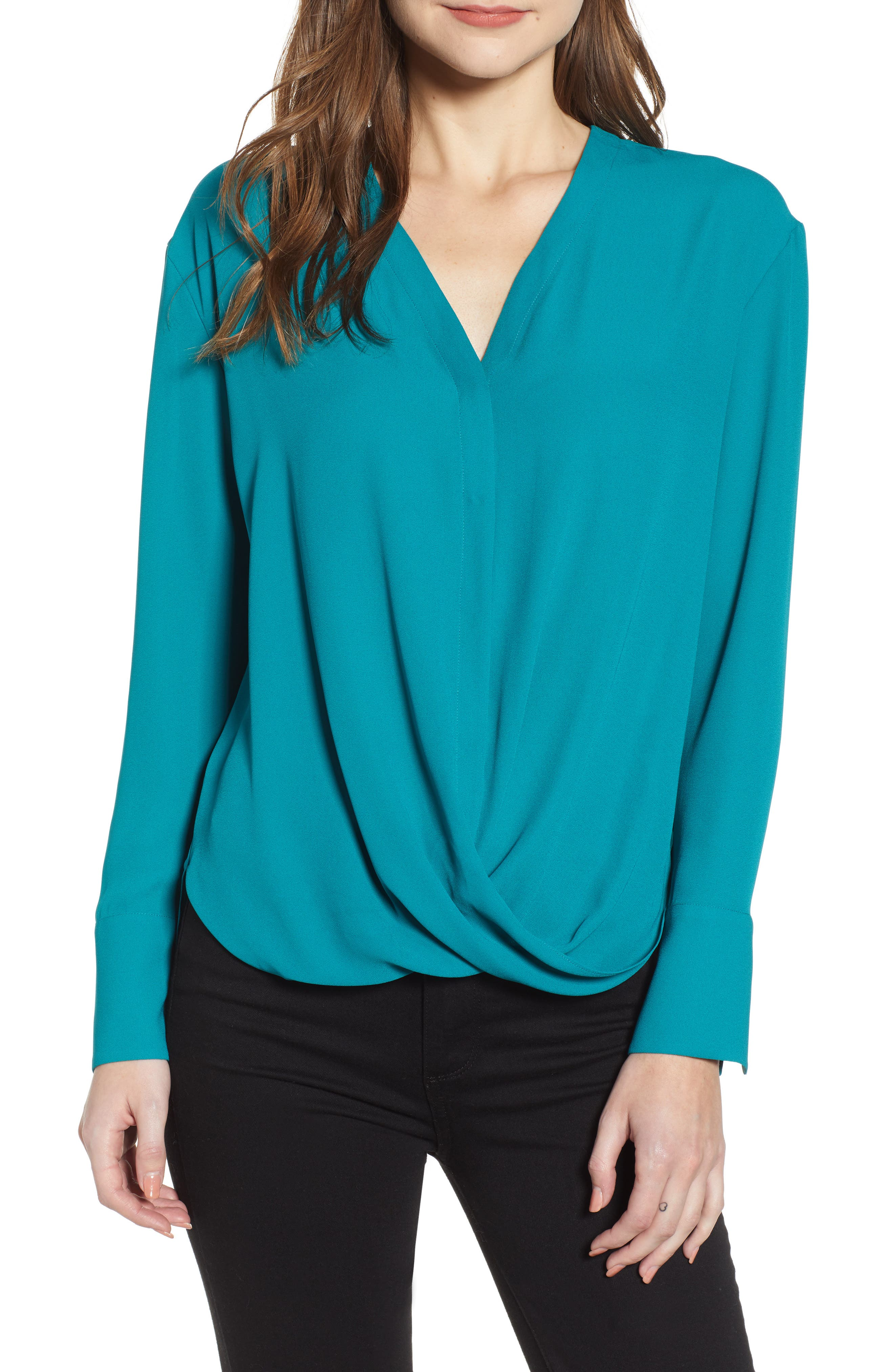 Drape Front Top,                             Main thumbnail 1, color,                             TEAL HARBOR