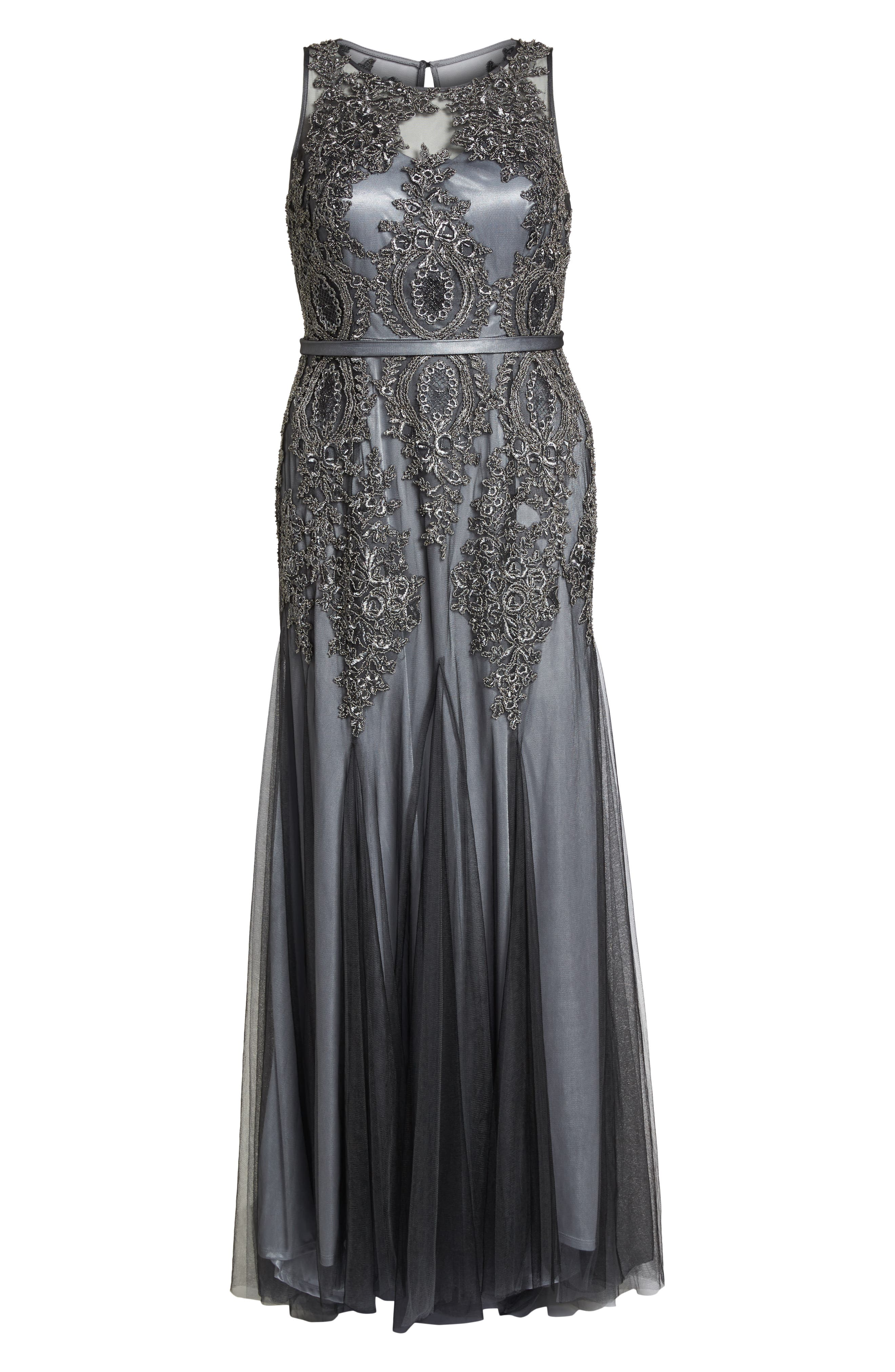 Beaded Godet Mesh Trumpet Gown,                             Alternate thumbnail 6, color,                             CHARCOAL