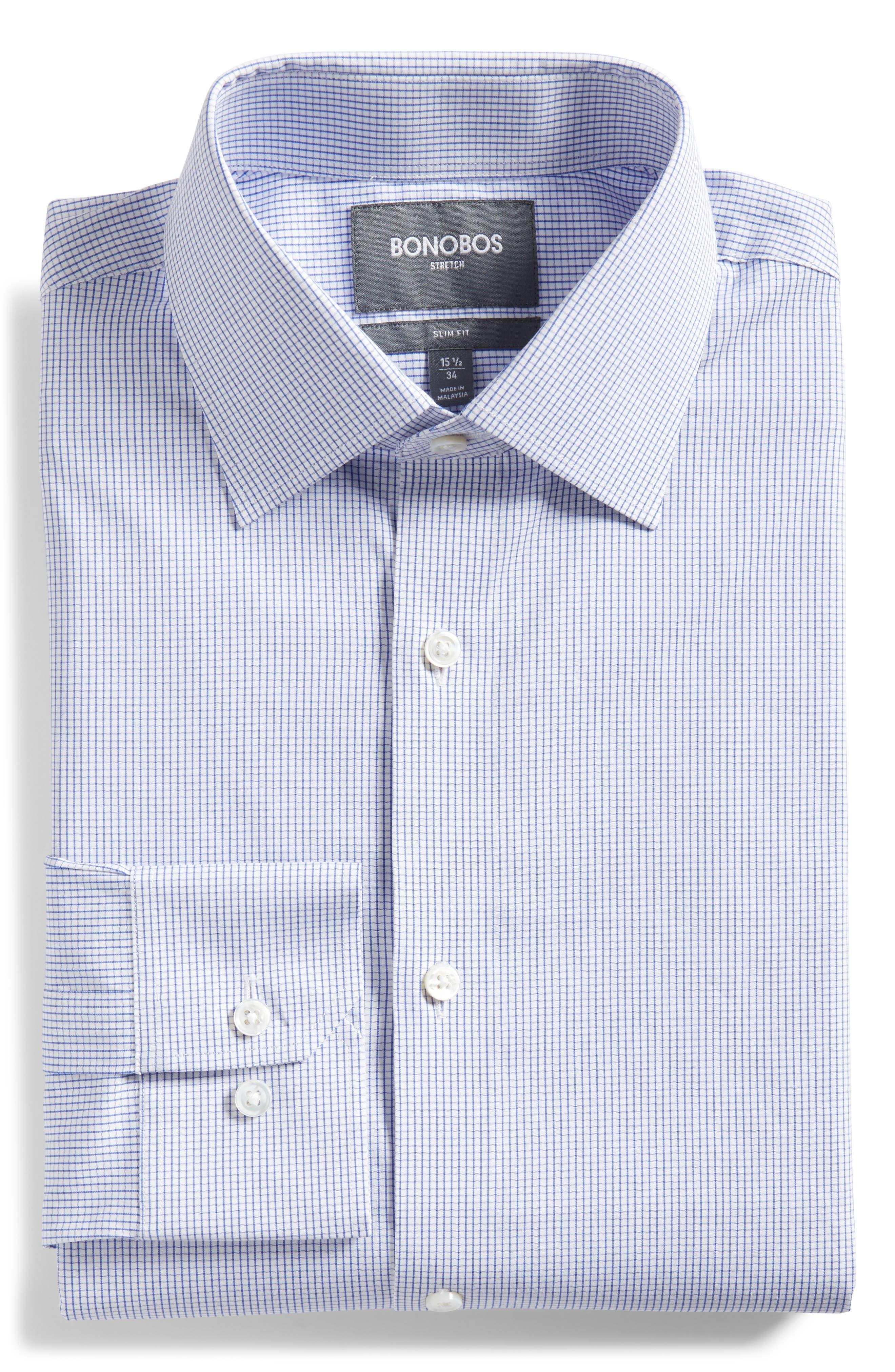 Jetsetter Slim Fit Stretch Check Dress Shirt,                             Alternate thumbnail 5, color,                             NAVY MINI CHECK