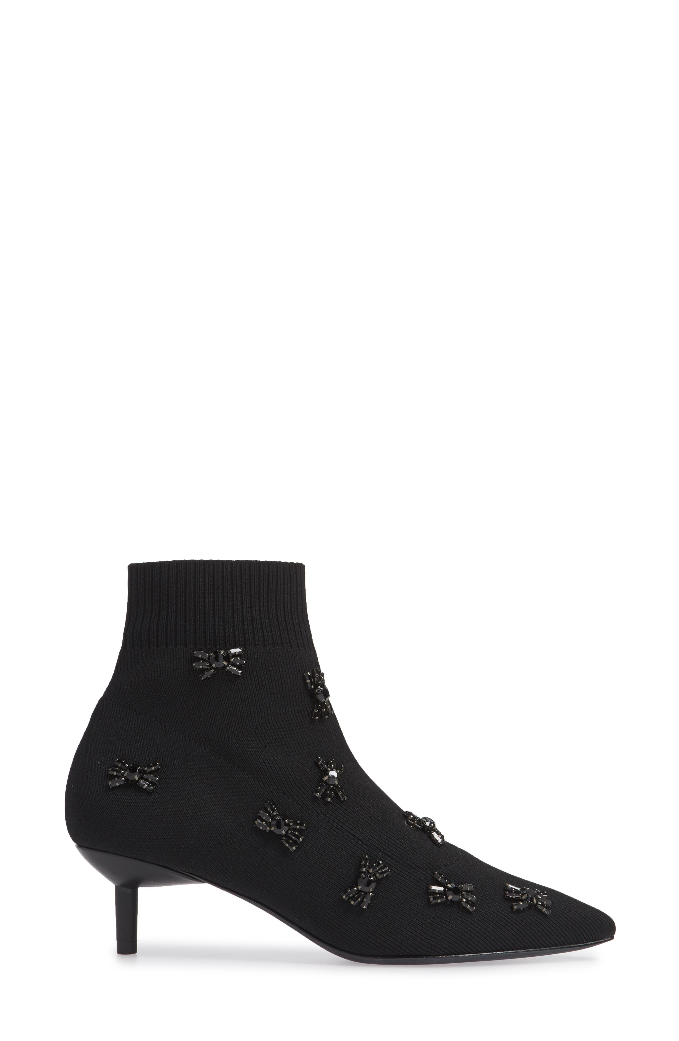 Betti Embellished Sock Bootie,                             Alternate thumbnail 3, color,                             BLACK KNIT FABRIC