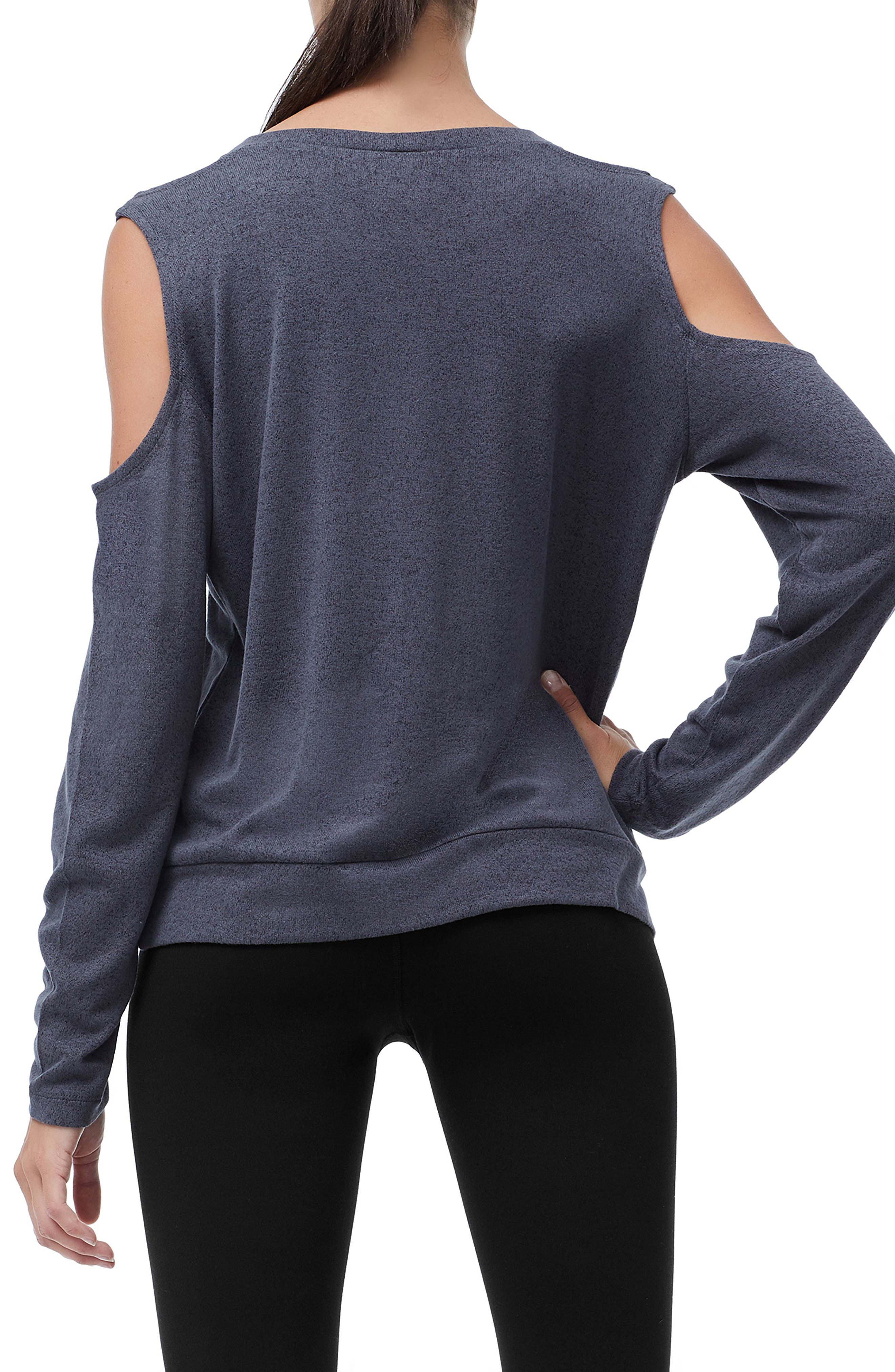 Cold Shoulder Tee,                             Alternate thumbnail 3, color,                             CHARCOAL001