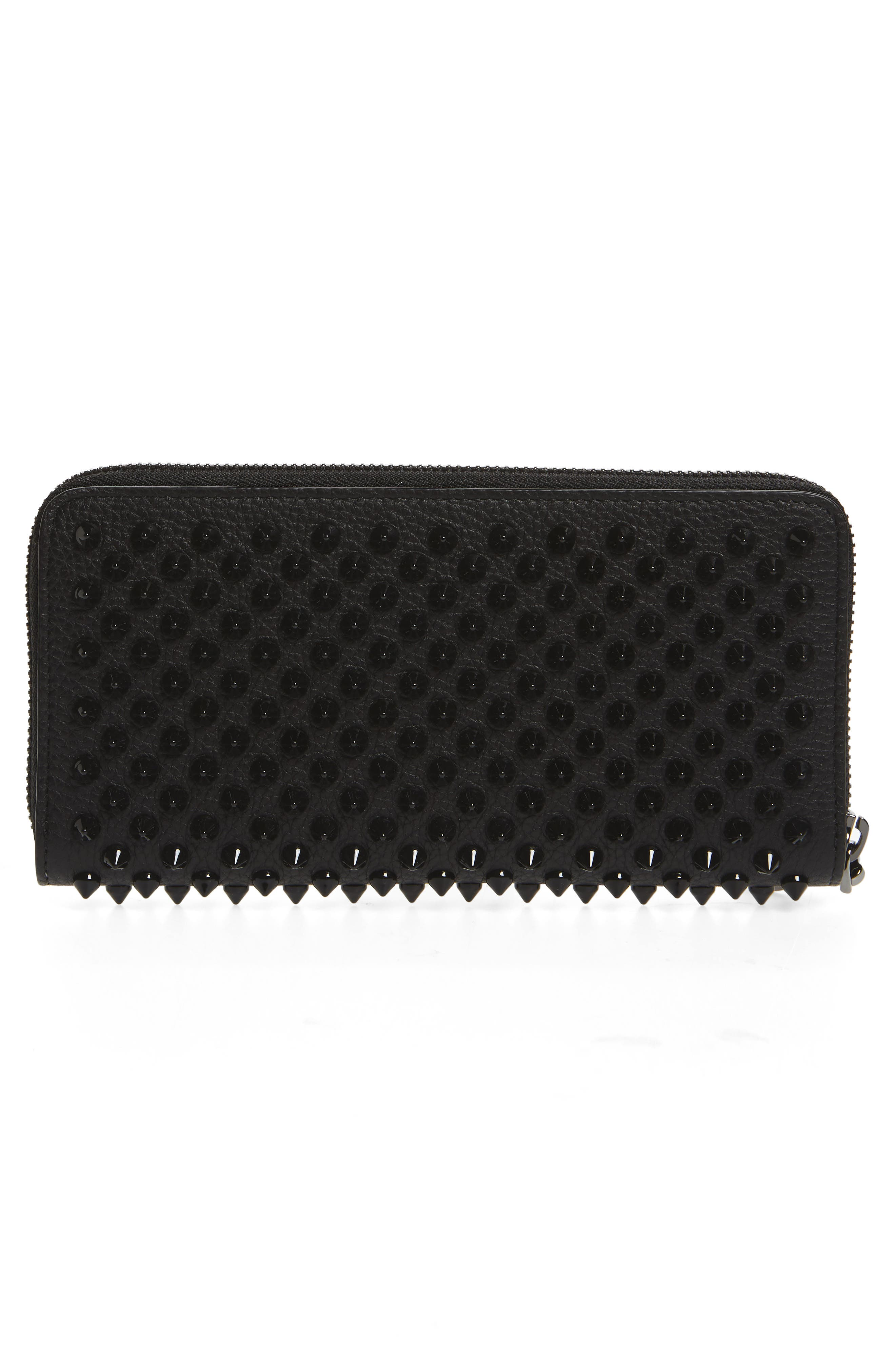 Panettone Spiked Calfskin Wallet,                             Alternate thumbnail 3, color,                             BLACK/ BLACK