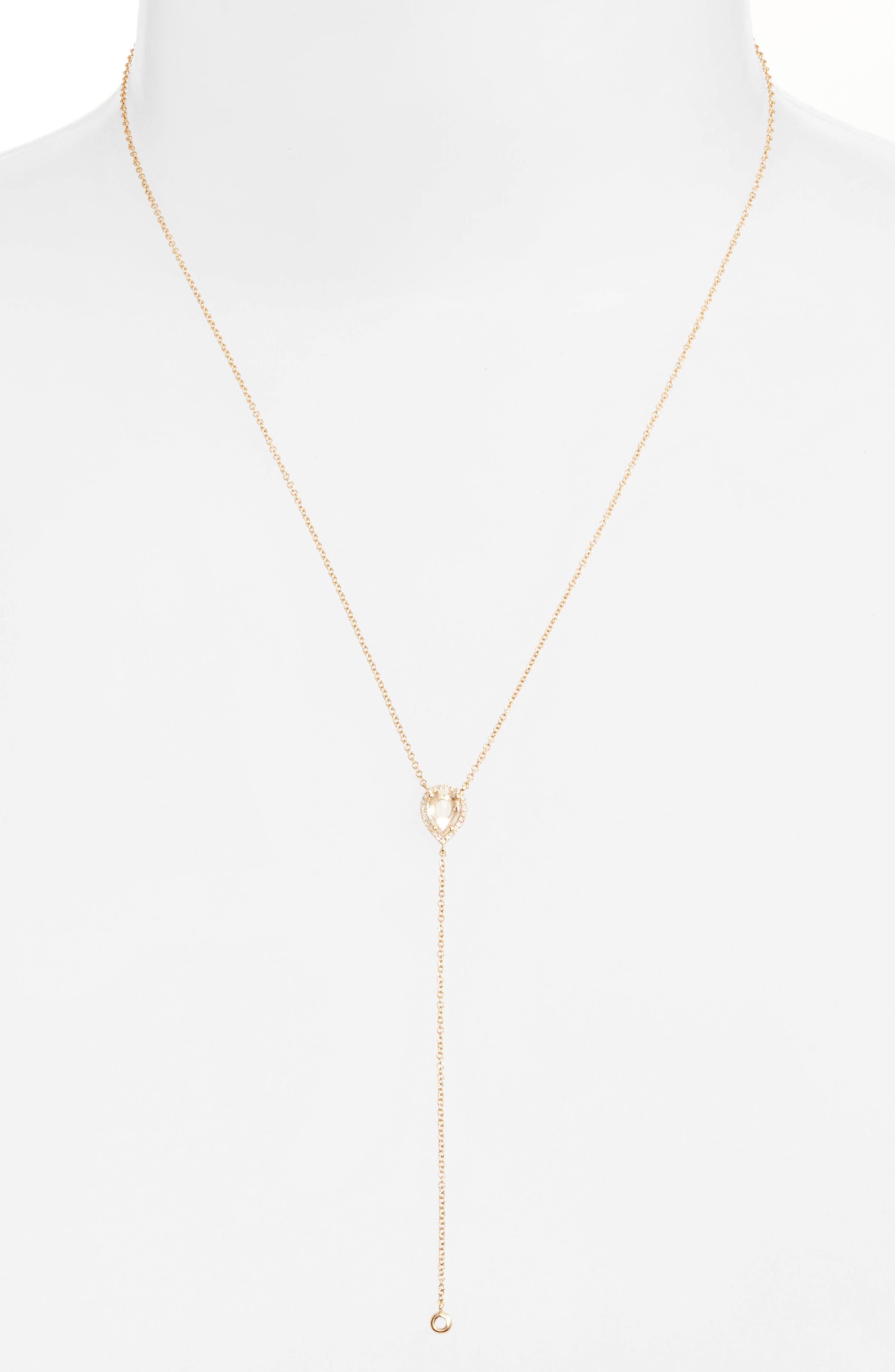 Teardrop Diamond Y-Necklace,                         Main,                         color, 710