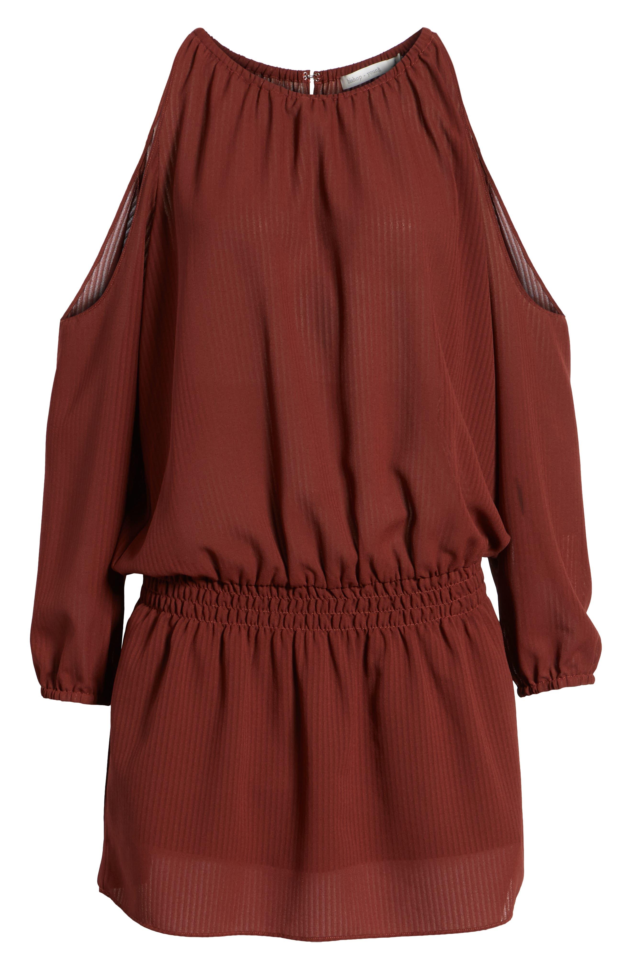 Bishop + Young Cold Shoulder Blouson Minidress,                             Alternate thumbnail 6, color,                             RUST