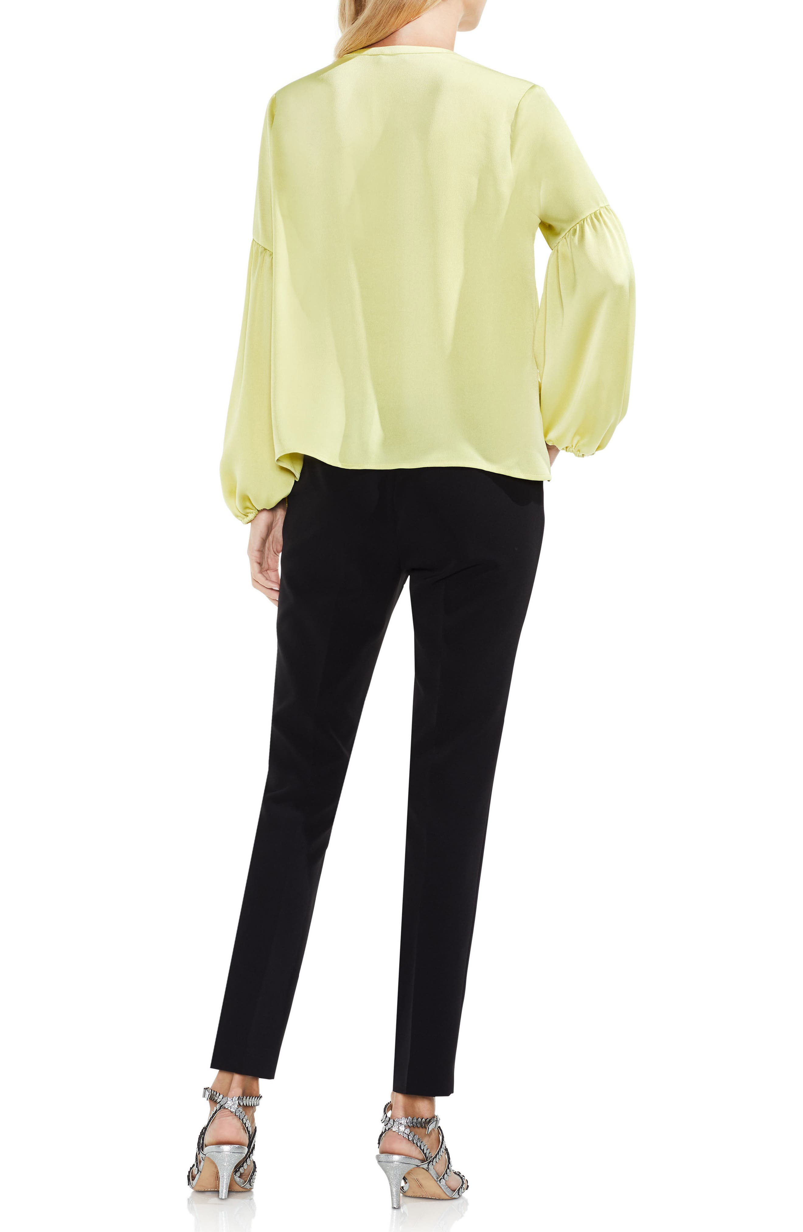 Lace-Up Hammered Satin Blouse,                             Alternate thumbnail 15, color,