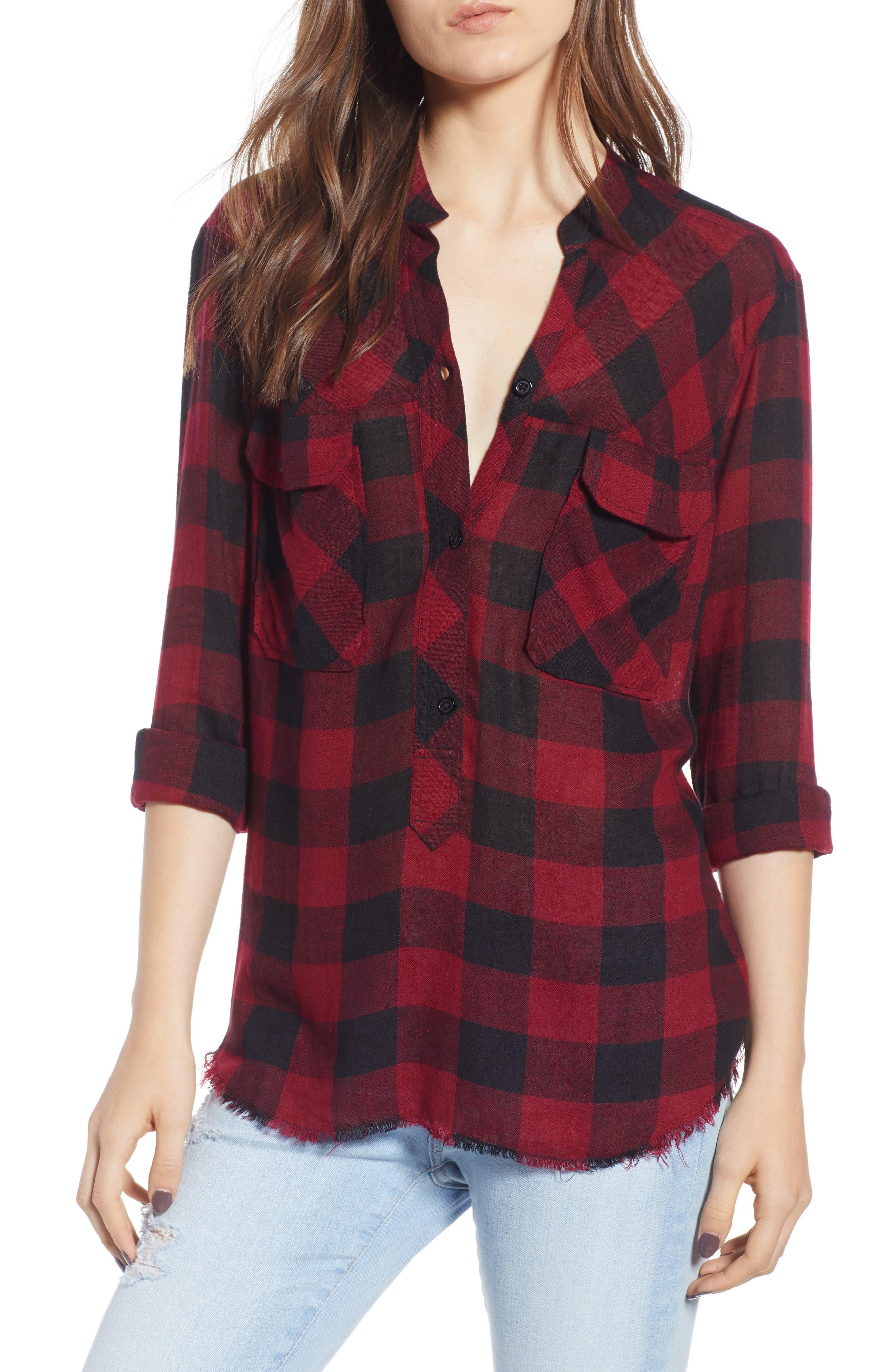 Redding Plaid Shirt,                         Main,                         color, SANGUINE BLACK