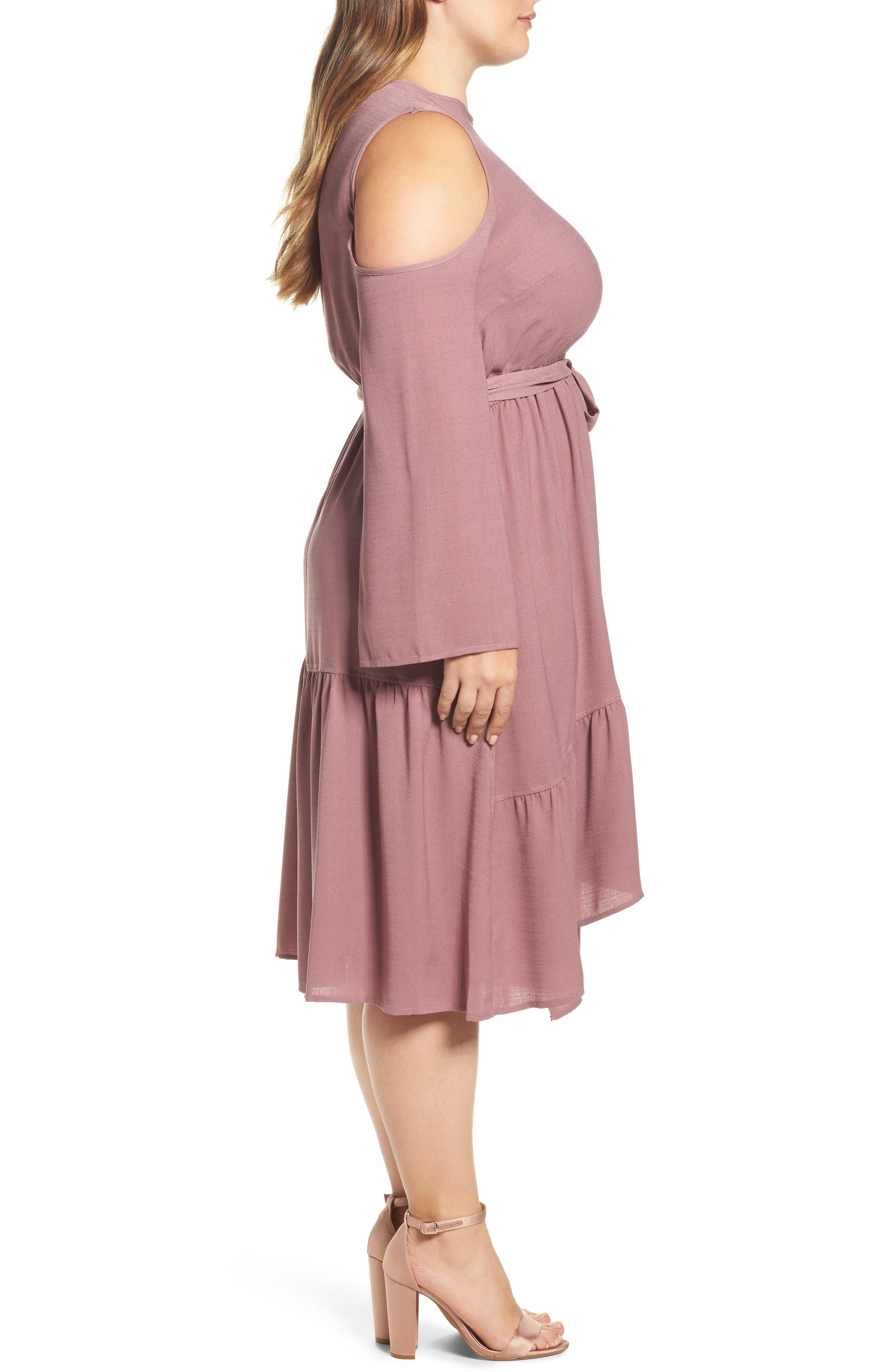 Cold Shoulder A-Line Dress,                             Alternate thumbnail 3, color,