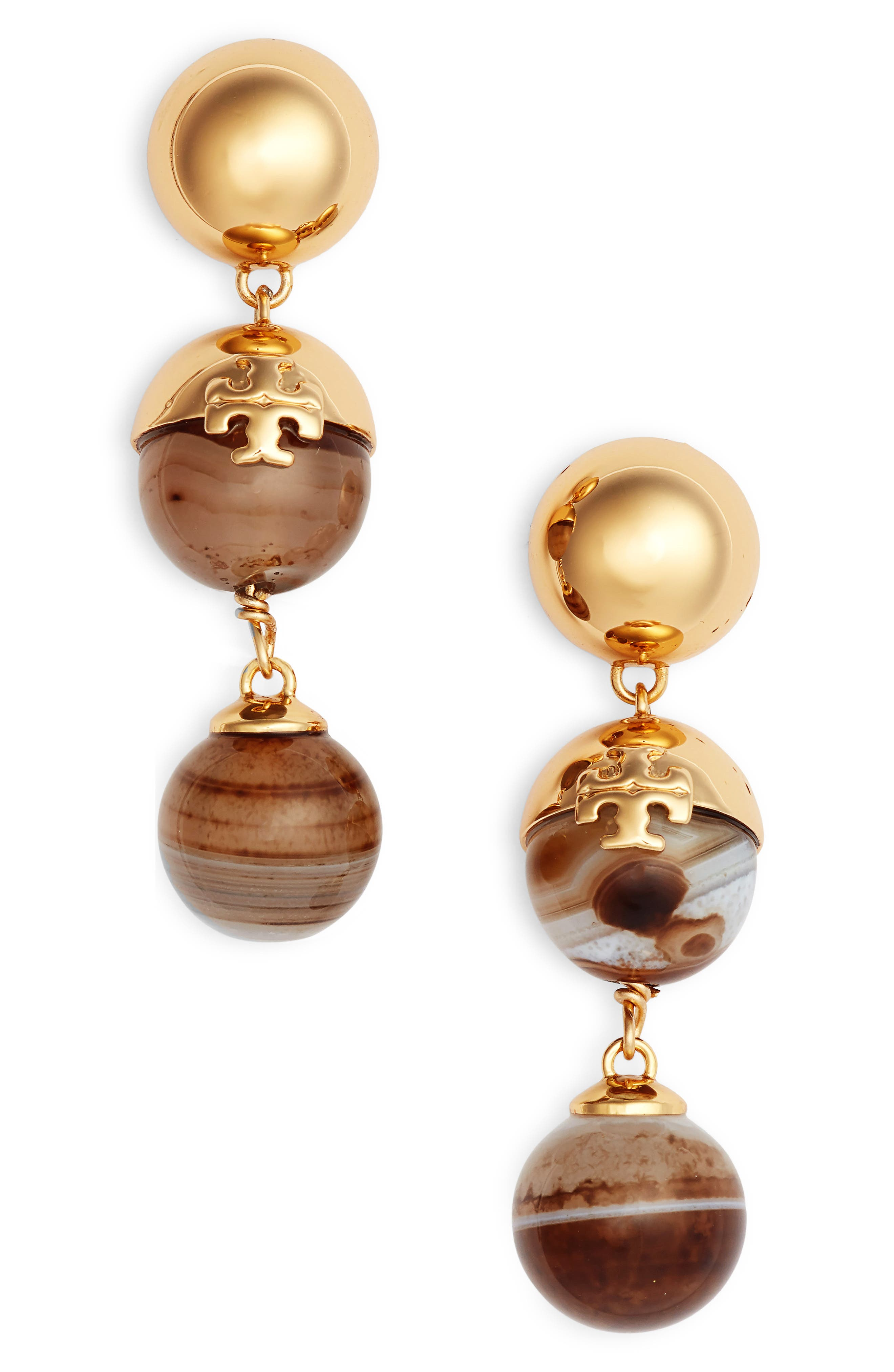 Logo Bead Linear Earrings,                             Main thumbnail 1, color,                             AGATE/ TORY GOLD