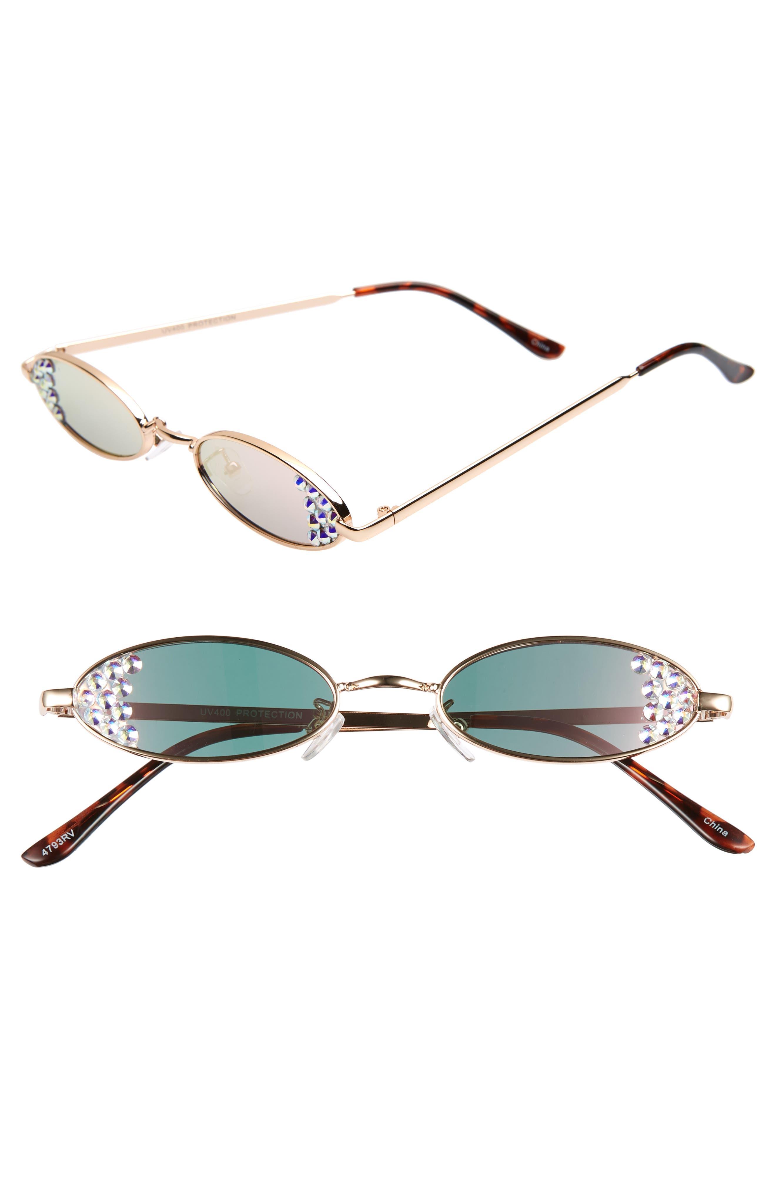 Rad + Refined Mini Oval Crystal Sunglasses - Gold/ Crystal