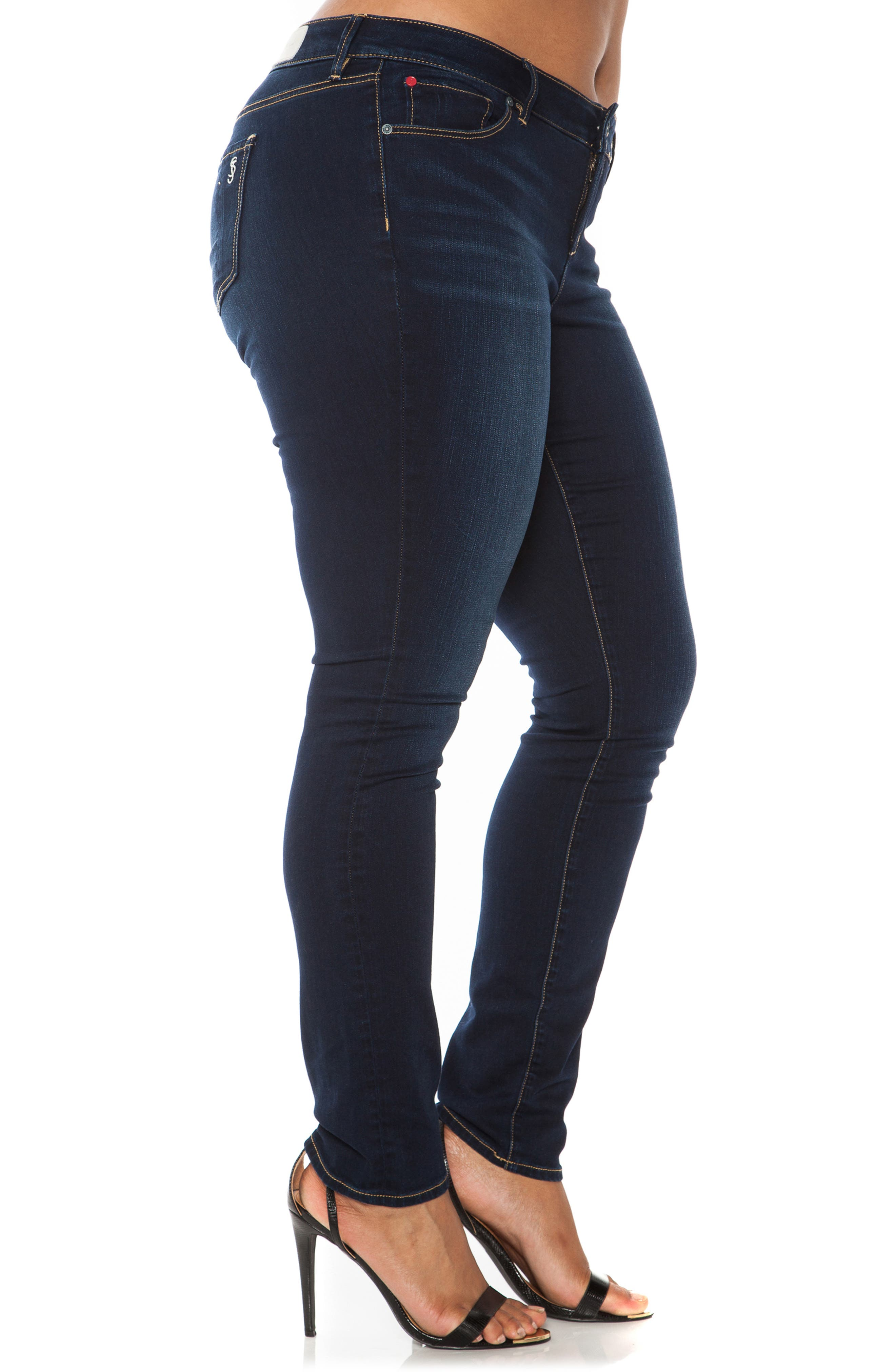 'The Skinny' Stretch Denim Jeans,                             Alternate thumbnail 4, color,                             AMBER
