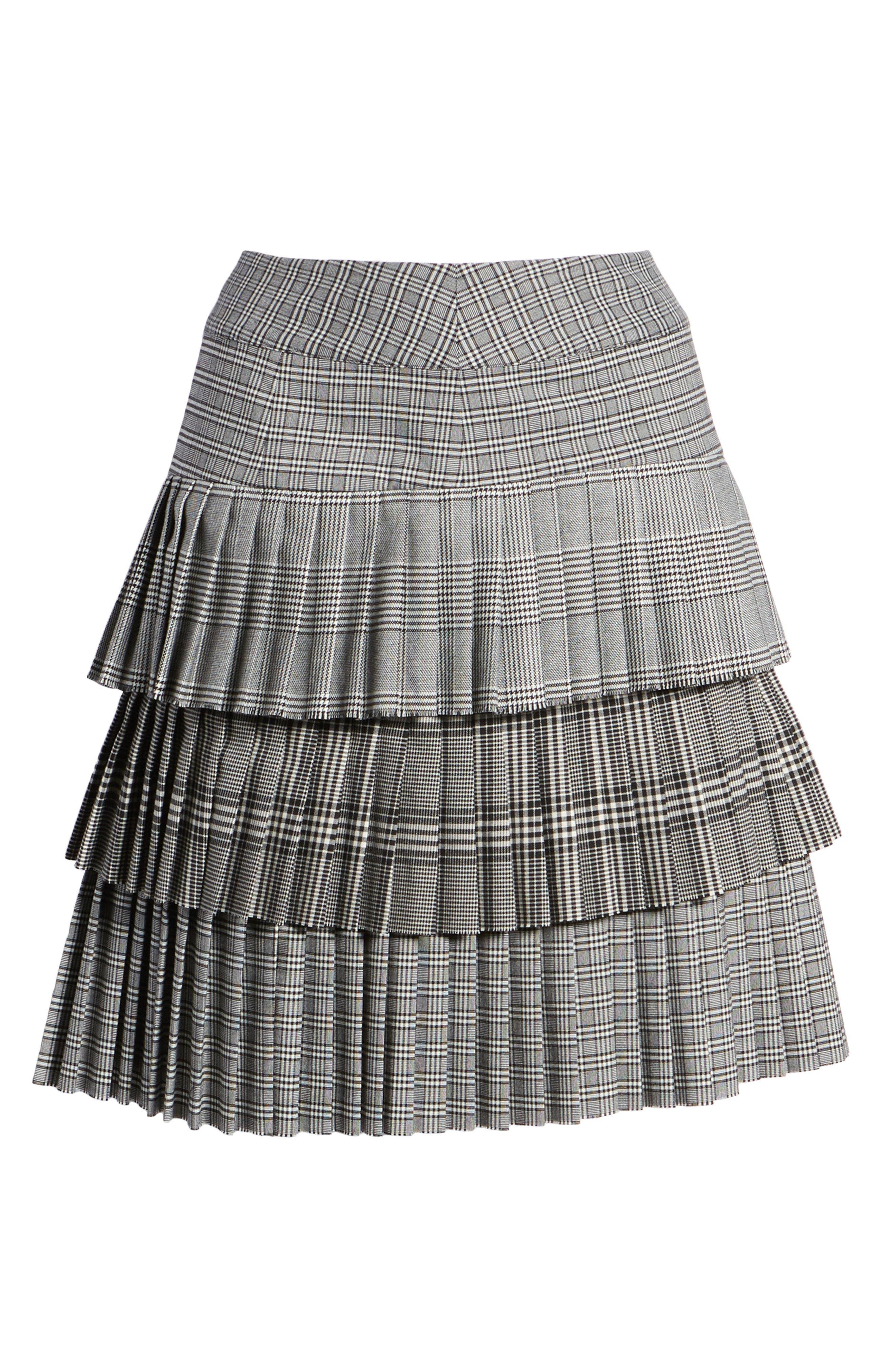 Layered Pleated Skirt,                             Alternate thumbnail 6, color,                             BLACK MIXED PLAID