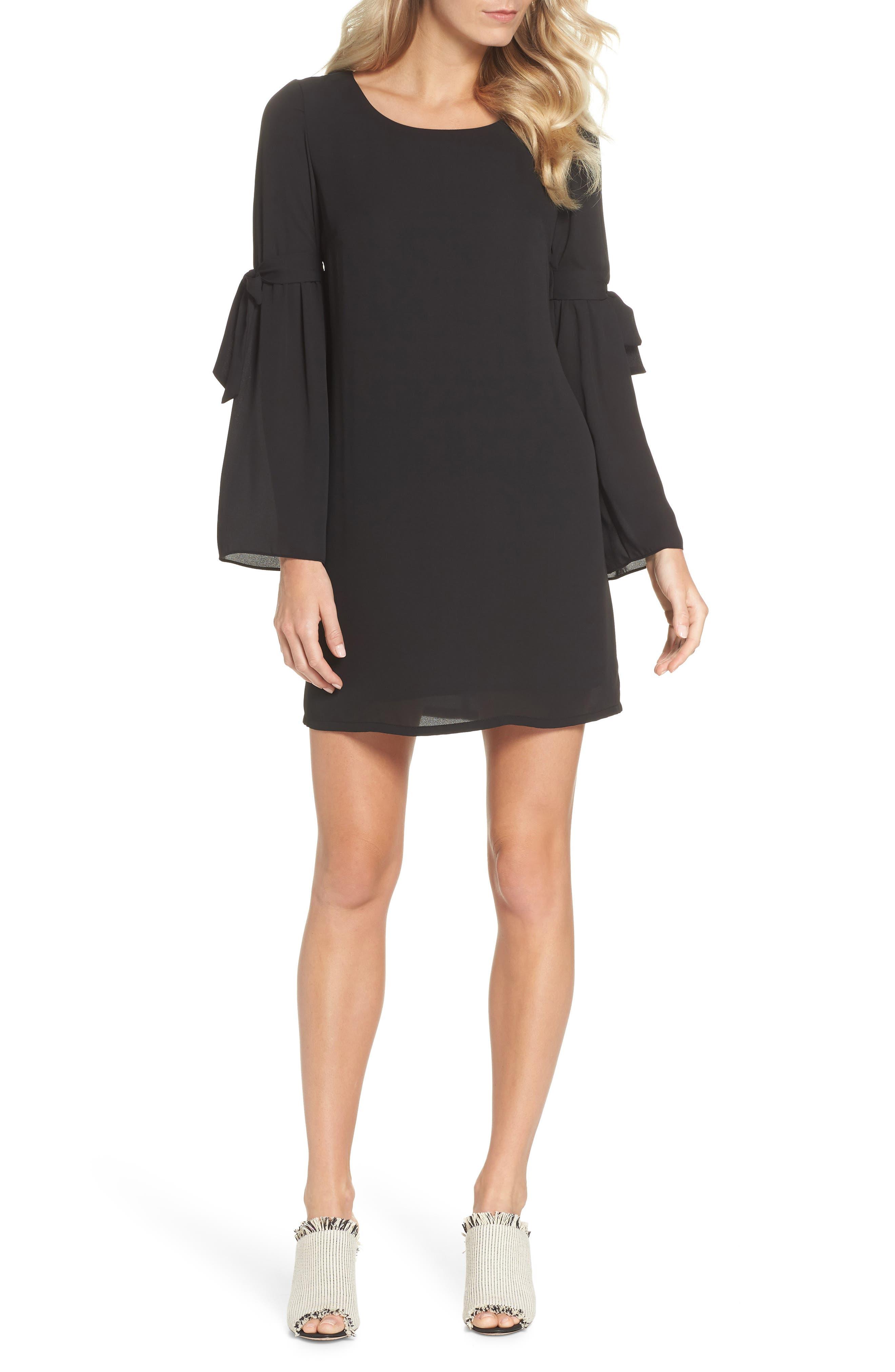 Bell Sleeve Dress, Main, color, BLACK