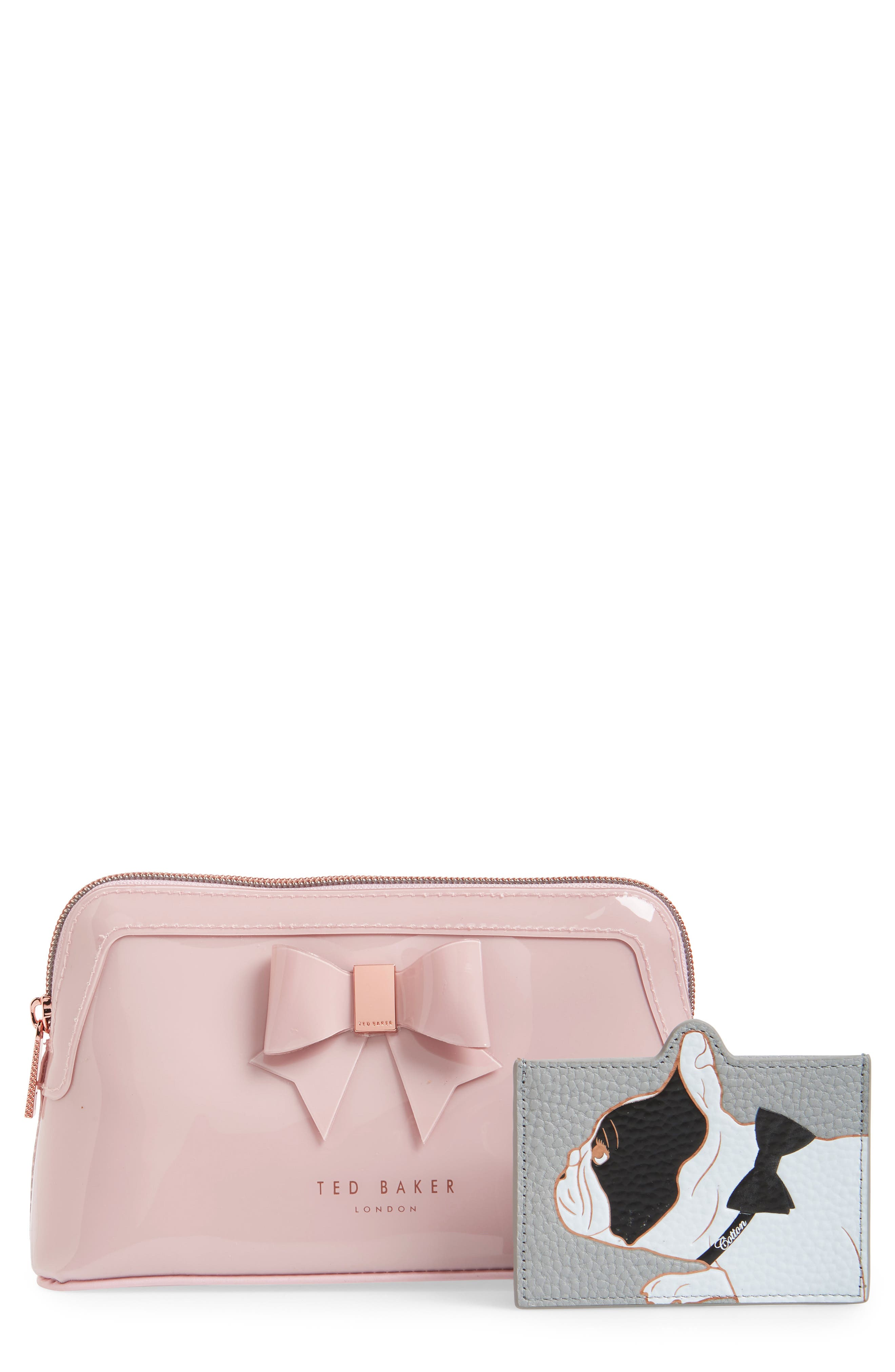 Celest Cosmetics Case & Cardholder Set, Main, color, GREY