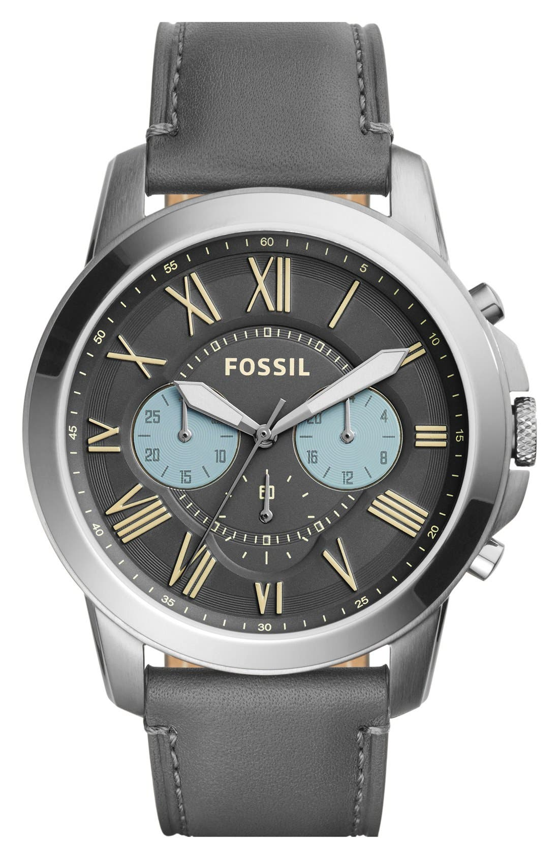 'Grant' Round Chronograph Leather Strap Watch, 44mm,                             Main thumbnail 9, color,