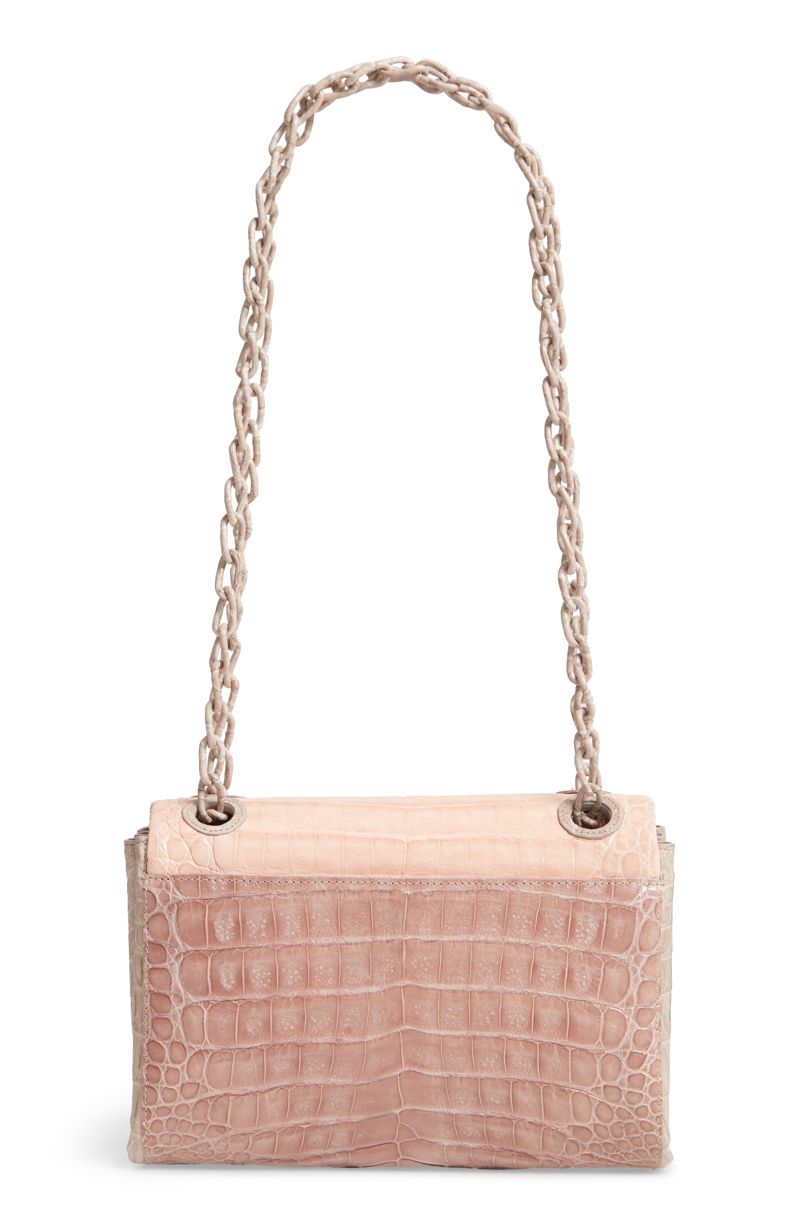 Small Madison Genuine Crocodile Shoulder Bag,                             Alternate thumbnail 4, color,                             NUDE/ TAUPE/ BLUSH