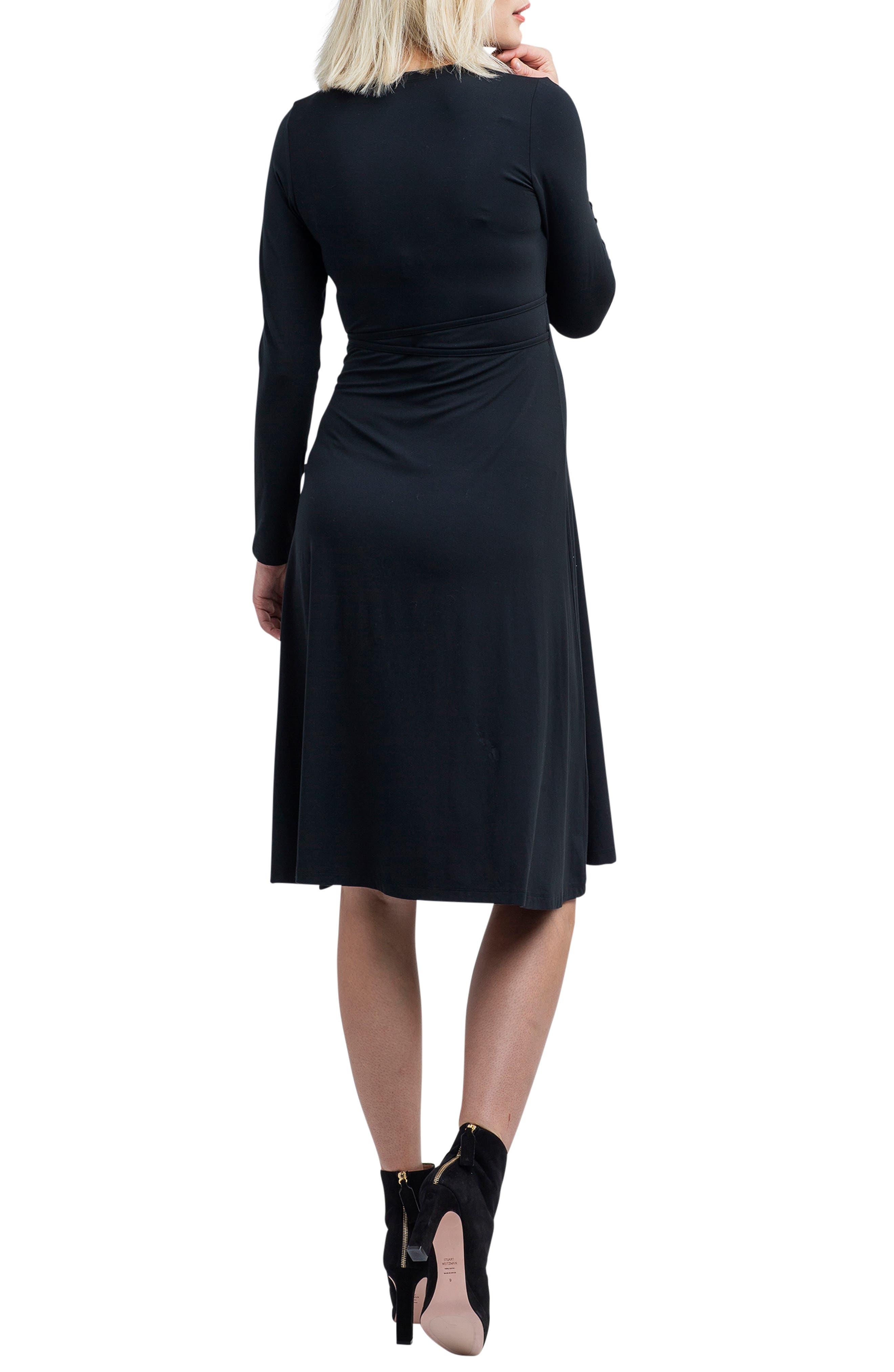 Tessa Jersey Maternity/Nursing Wrap Dress,                             Alternate thumbnail 2, color,                             BLACK