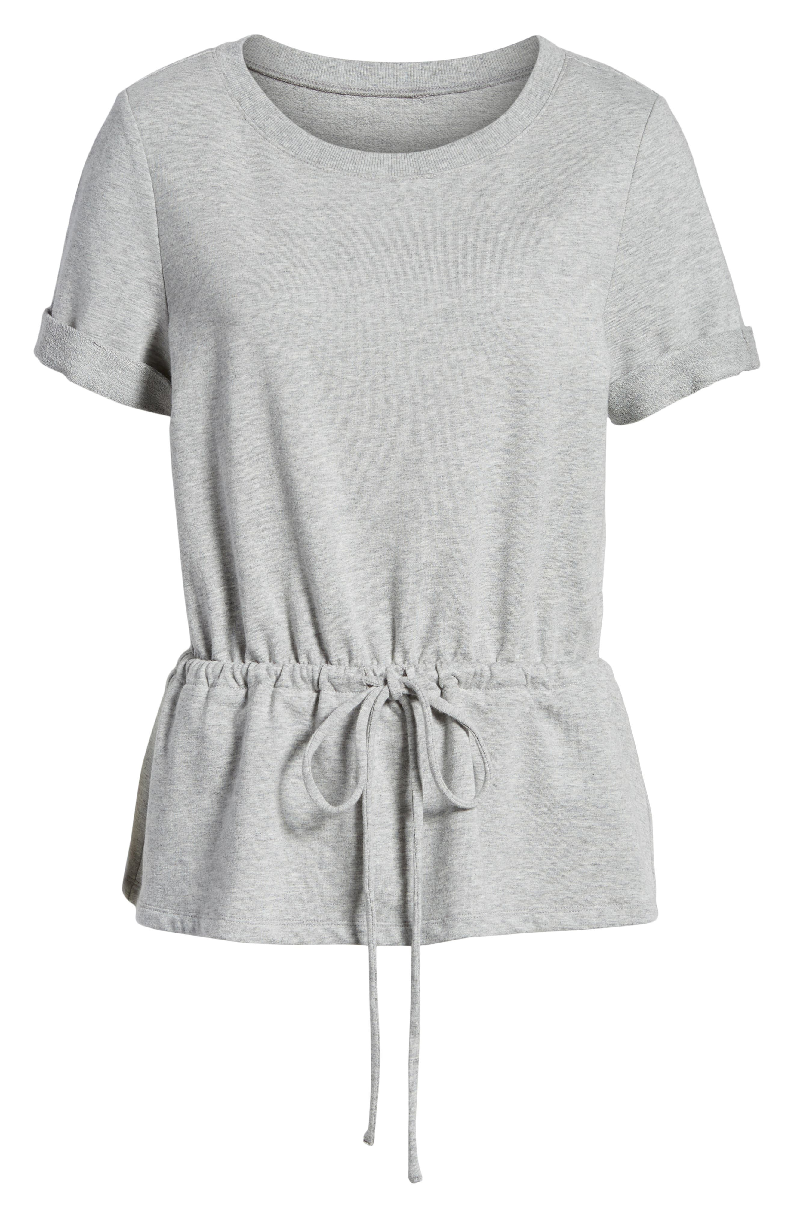 Drawcord Peplum Cotton Blend Top,                             Alternate thumbnail 7, color,                             030