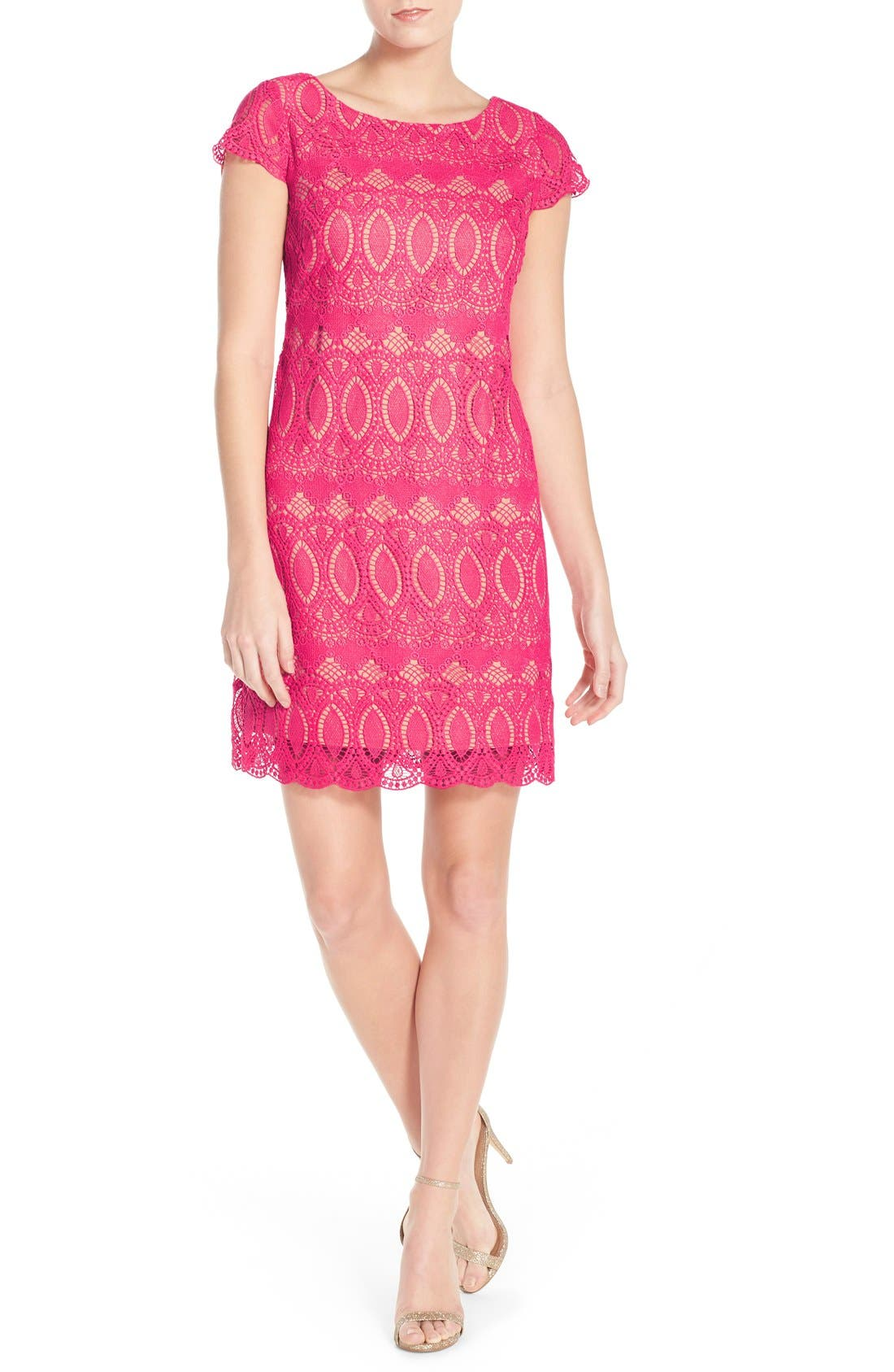 Scalloped Lace Sheath Dress,                             Alternate thumbnail 5, color,                             660