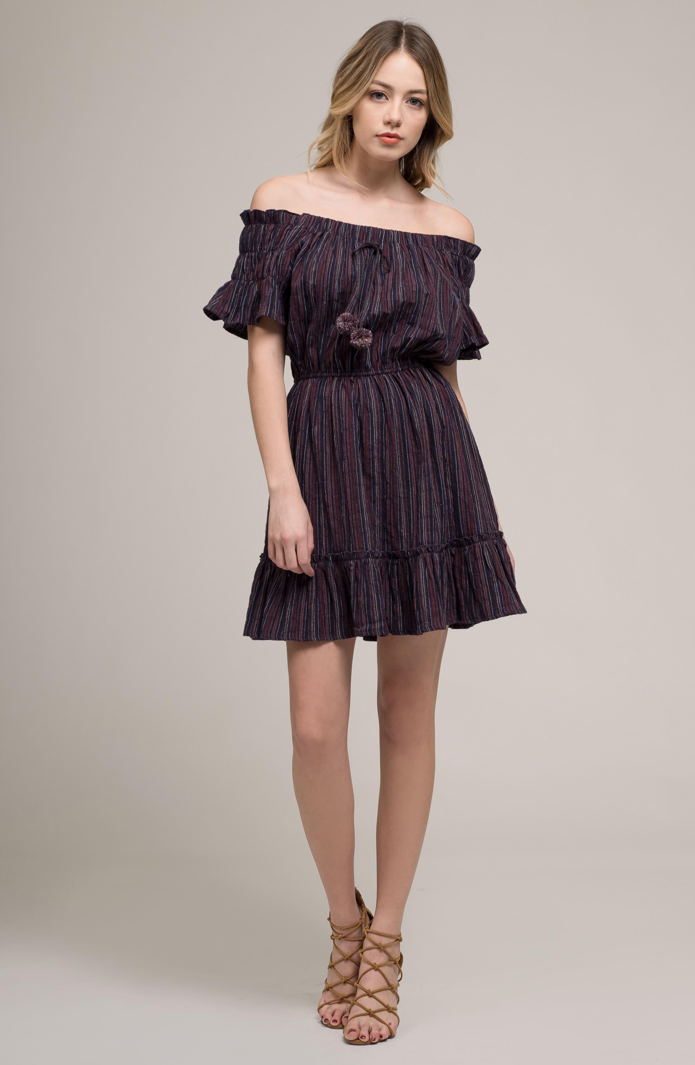 Stripe Off the Shoulder Dress,                             Alternate thumbnail 8, color,                             411
